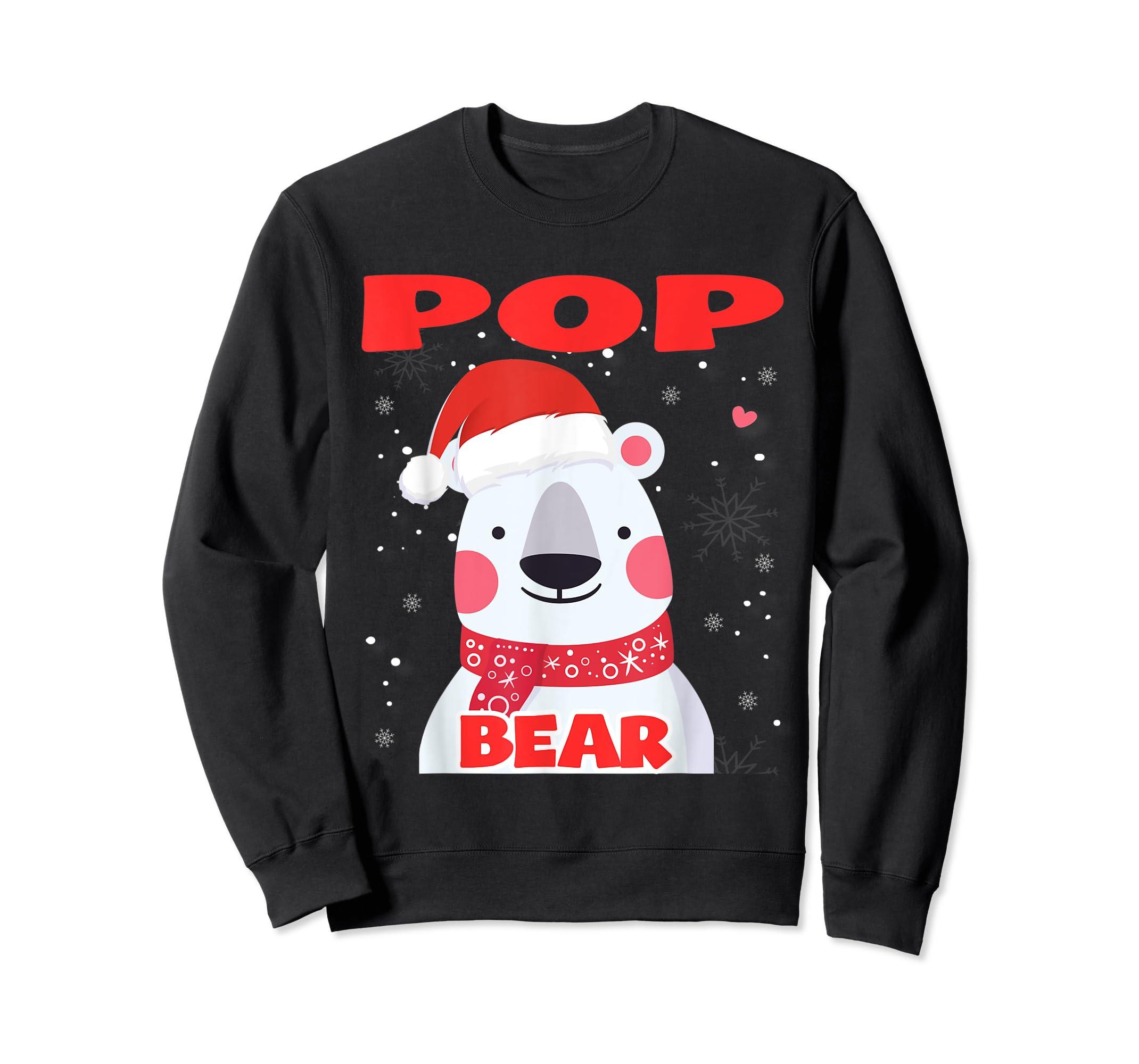 Pop Bear Christmas Grandpa Santa T-Shirt-Sweatshirt-Black