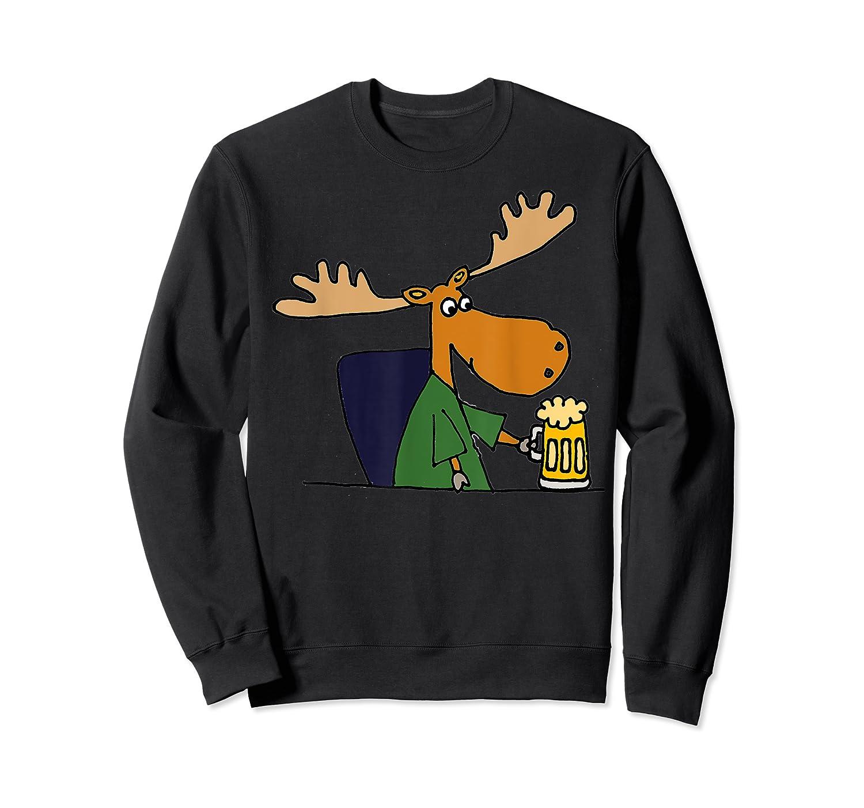 Smiletodaytees Funny Moose Drinking Mug Of Beer T-shirt Crewneck Sweater