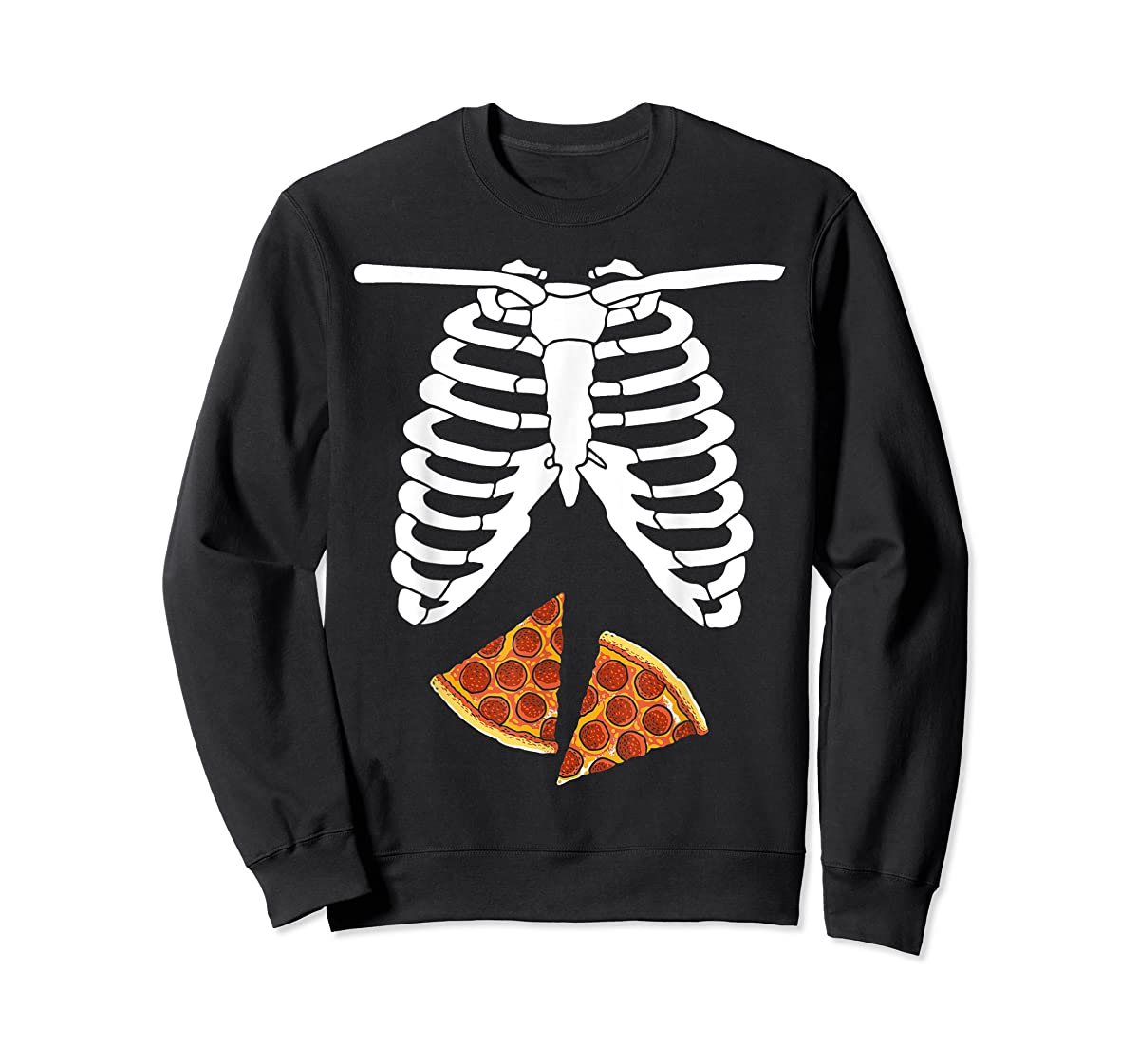 Halloween Skeleton Xray Pizza Slices Costume Rib Cage Easy T-Shirt-Sweatshirt-Black