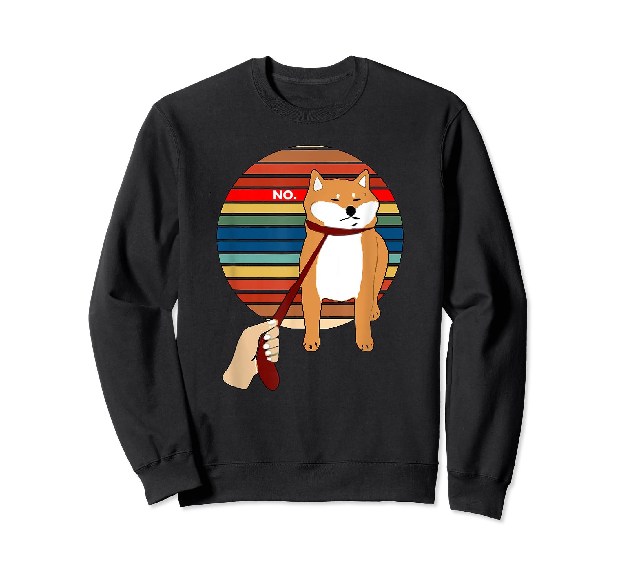 Cute Vintage Retro Shiba Inu Nope Dog Tee Shirt-Sweatshirt-Black
