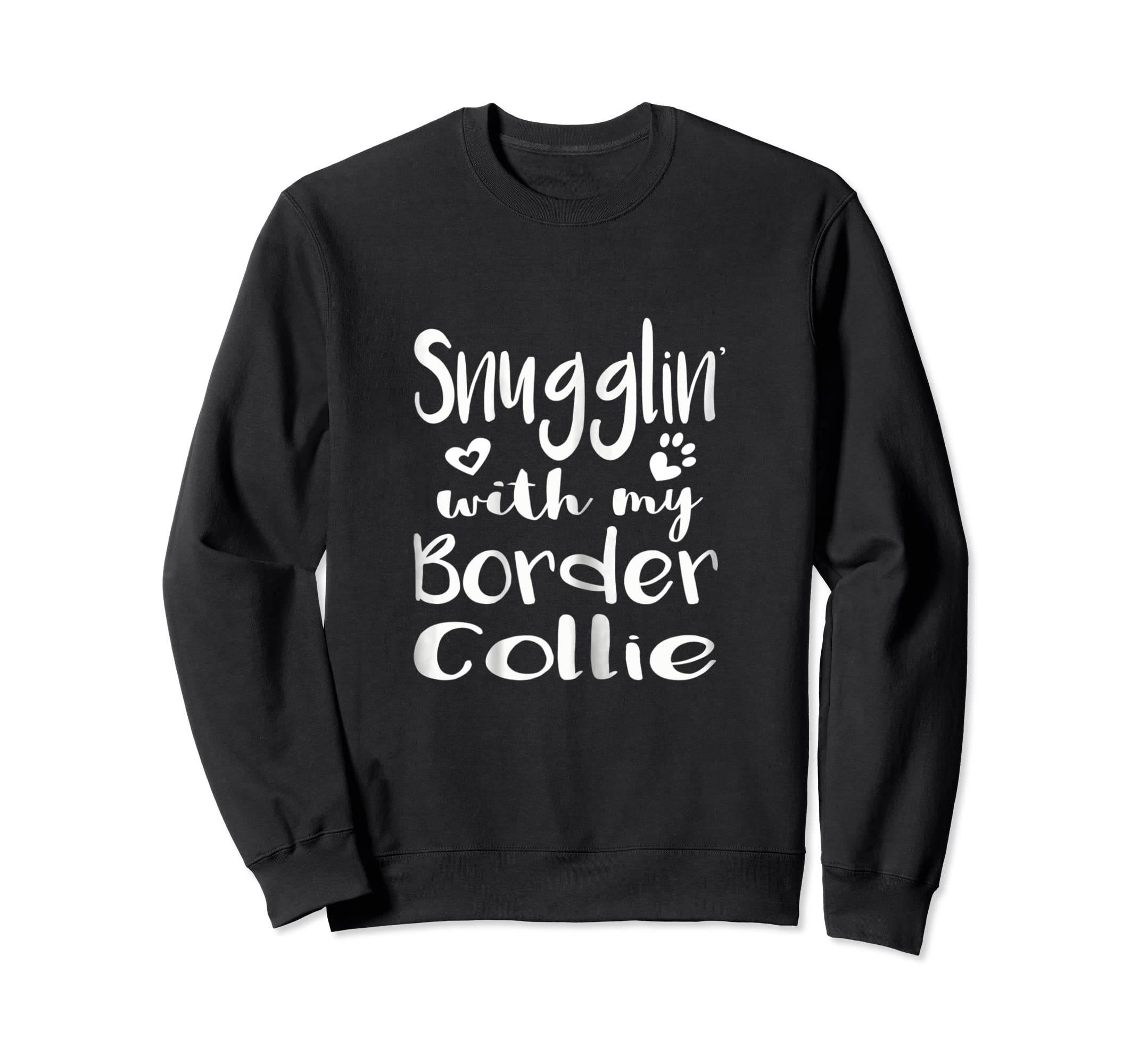 Snuggling with my Border Collie Shirt - Dog Mom pajamas-Sweatshirt-Black