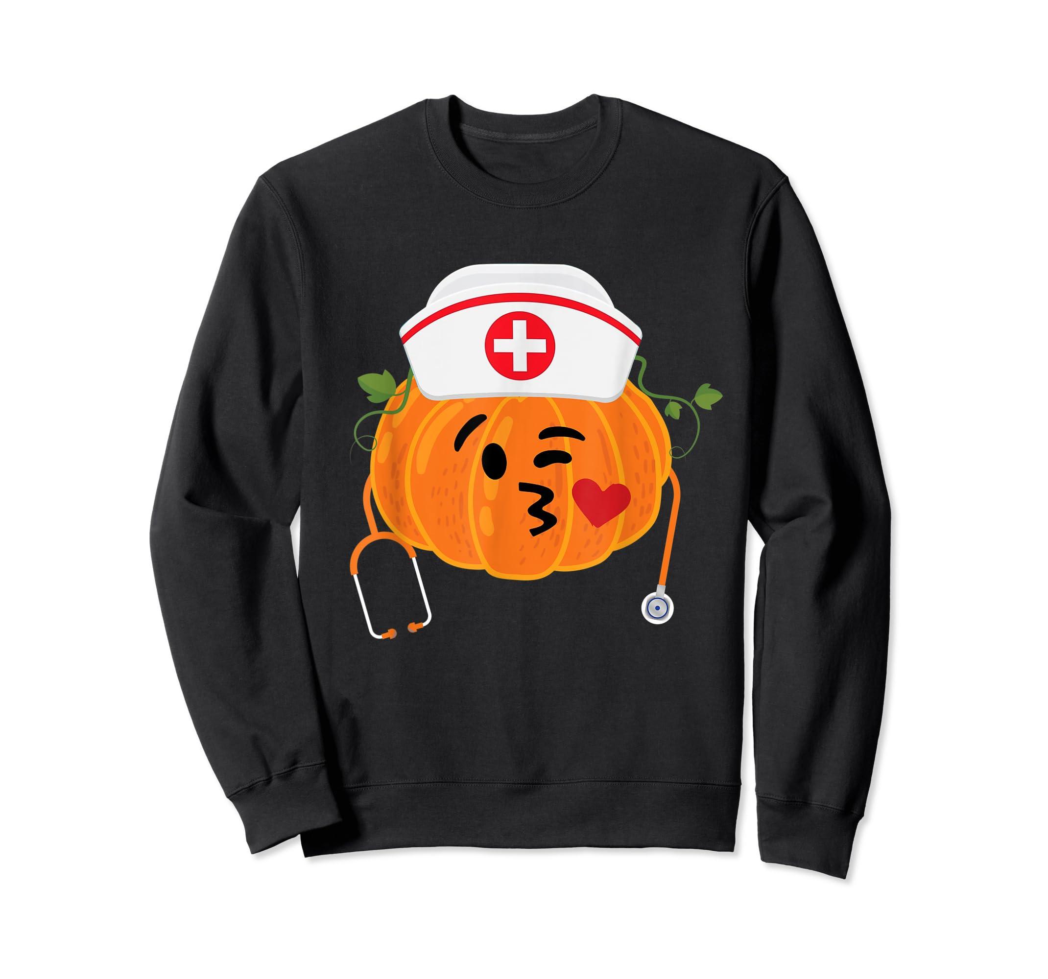 Nurse Stethoscope Pumpkin Funny Nursing Halloween Gift T-Shirt-Sweatshirt-Black