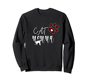 99813a44 Amazon.com: Cat Momma Buffalo Plaid Paw Print-Kitty Sweatshirt: Clothing