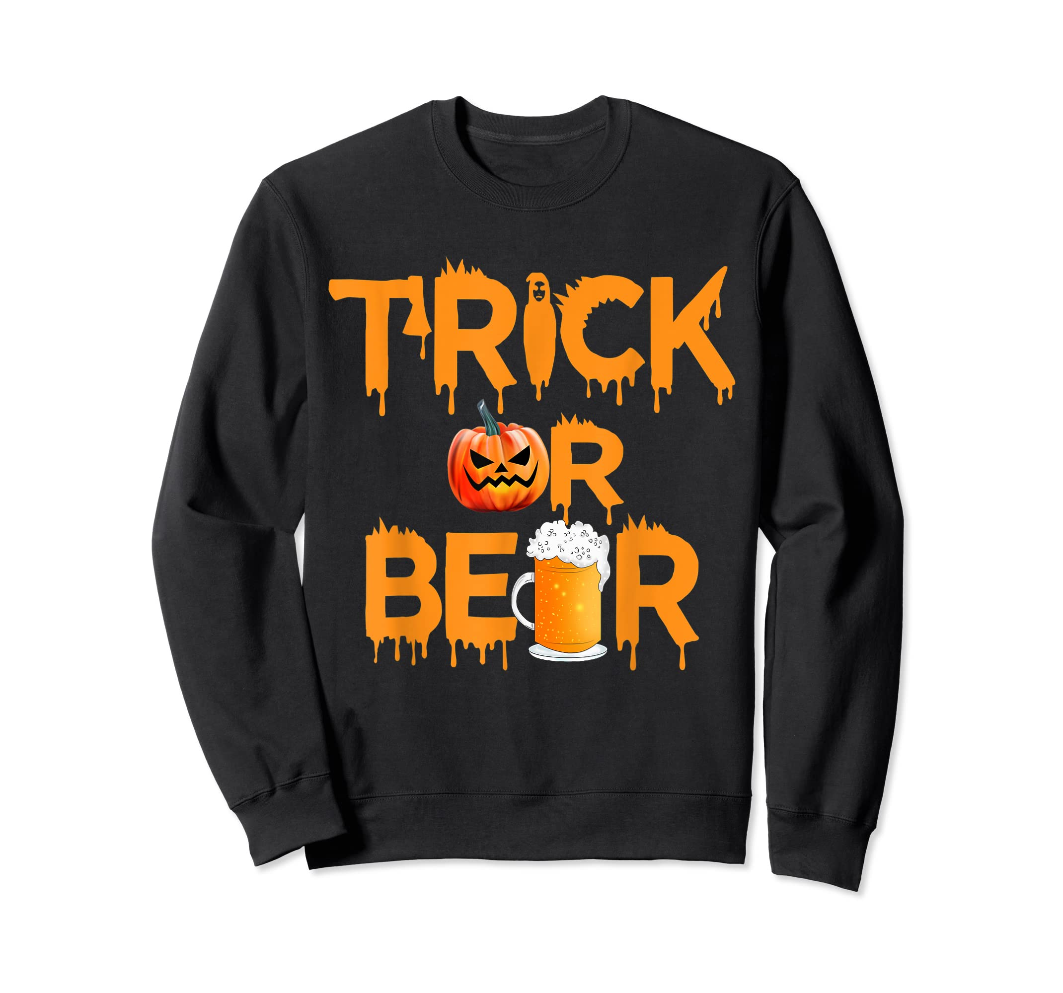 Halloween Costume Trick or Beer Drinking T Shirt Pumpkin Men T-Shirt-Sweatshirt-Black
