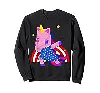 Dabbing Unicorn Merica 4th Of July For Shirts Sweatshirt Black