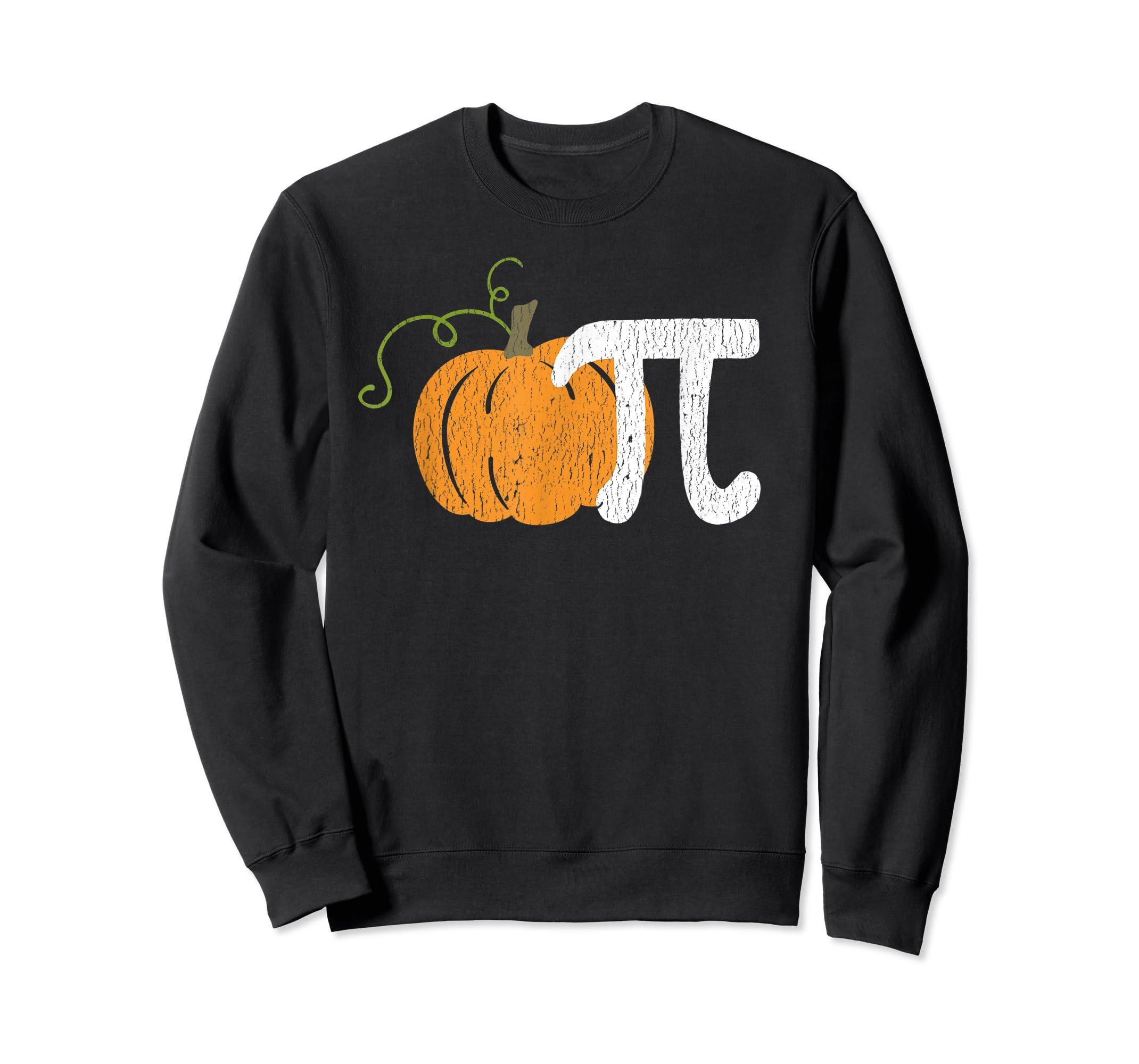 Funny Pumpkin Pie Math Teacher Halloween Pi Humor T-Shirt-Sweatshirt-Black