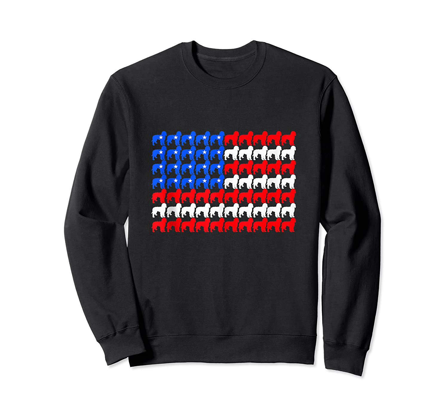 Goldendoodle 4th Of July Usa American Flag Patriotic Dog Shirts Crewneck Sweater