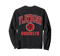 Flatbush Varsity Style Nyc Red Print T Shirt Sweatshirt Black
