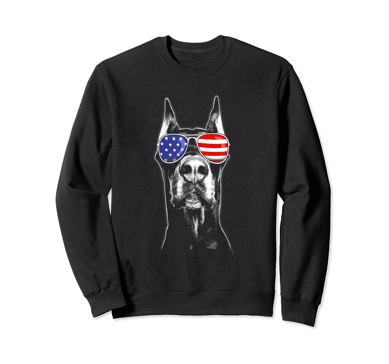 Doberman Sunglasses American Flag Funny 4th Of July T-shirt Crewneck Sweater
