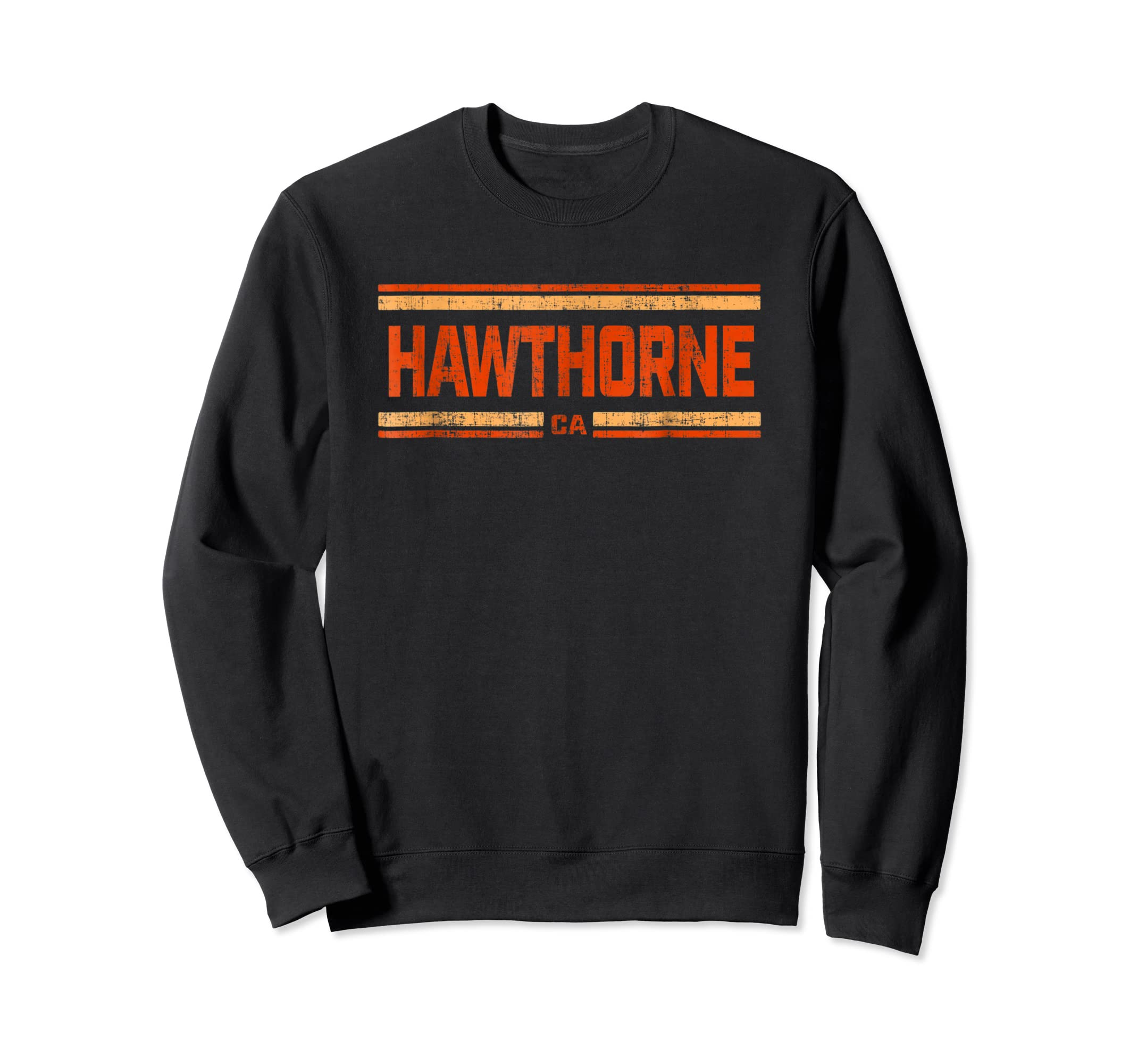 Retro Vintage Hawthorne CA Distressed T-Shirt-Sweatshirt-Black