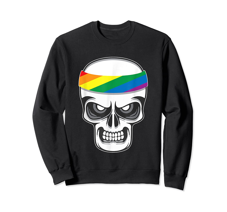 Funny Lbgt Gay Pride Rainbow Flag Skull Cool Art Gifts Shirts Crewneck Sweater