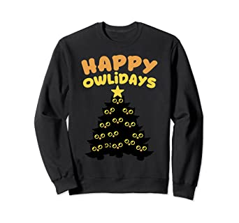 1cde3a712c7382 Image Unavailable. Image not available for. Color: Christmas Owl Sweatshirt  Happy Owlidays Holidays ...