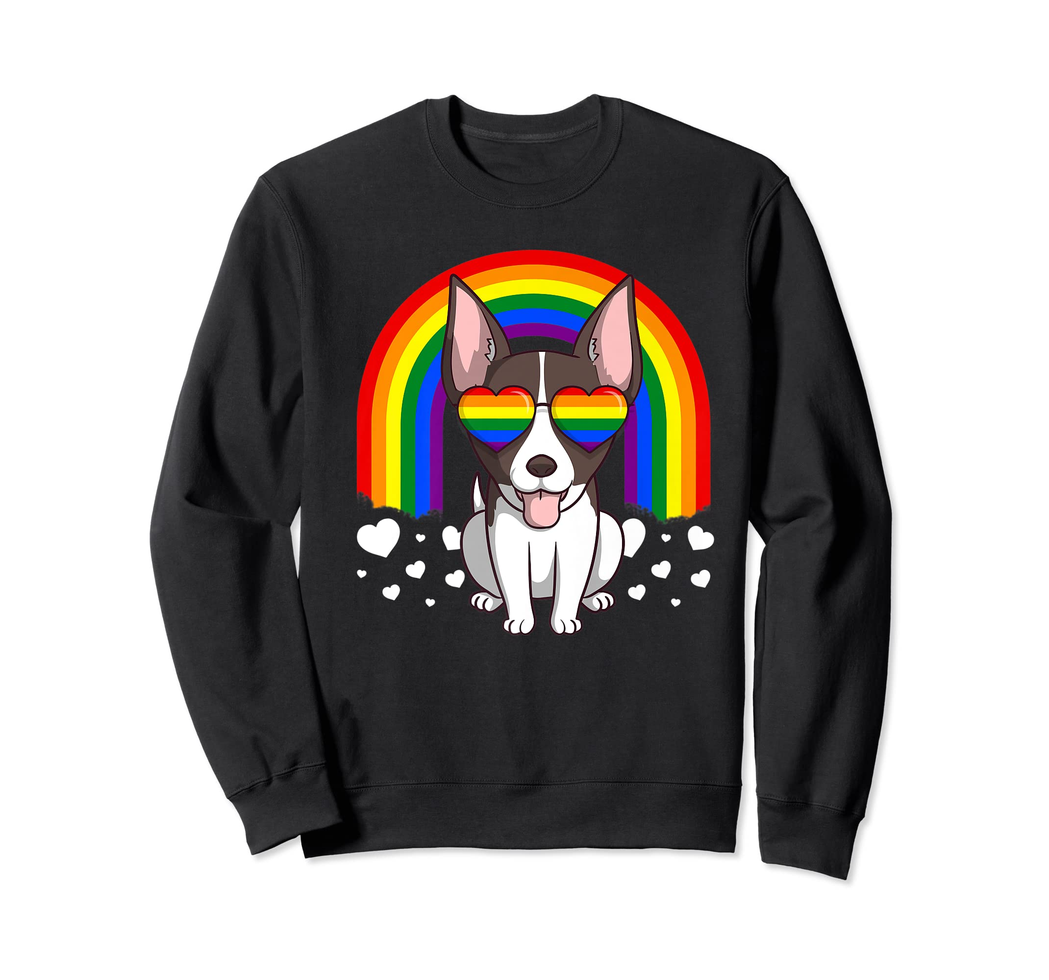 LGBT Rat Terrier Dog Gay Pride Rainbow LGBTQ Cute Gift Premium T-Shirt-Sweatshirt-Black