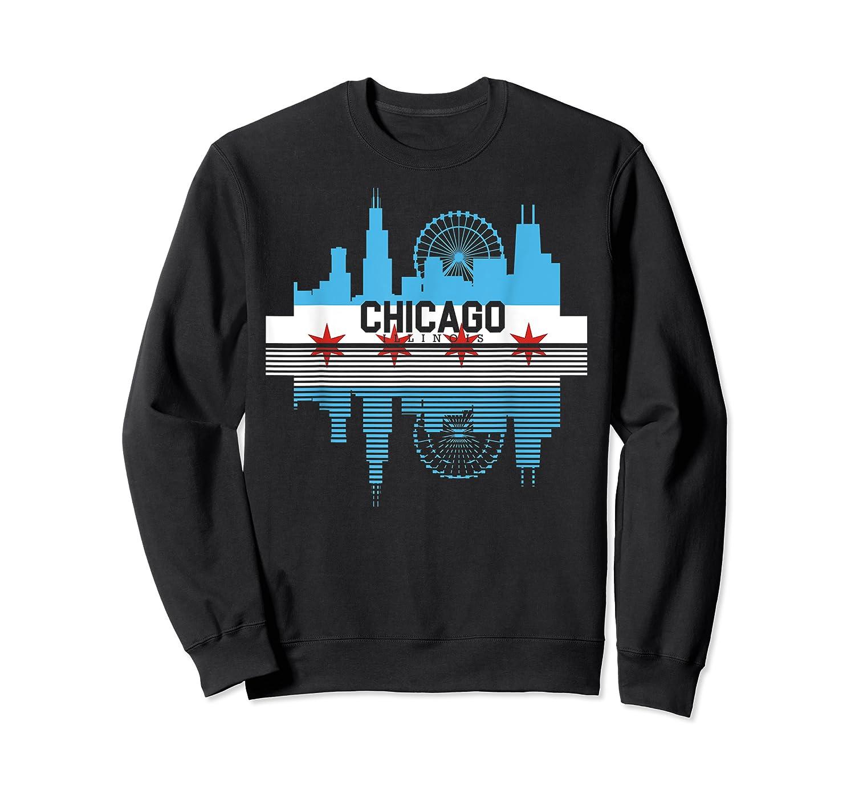 Chicago Skyline Shirt Silhouette Il City Flag Gift T Shirt Crewneck Sweater