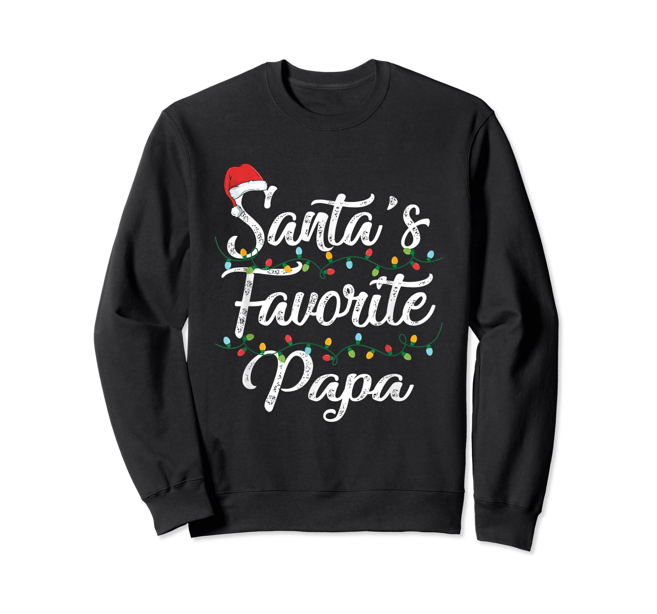 Santa's Favorite Papa Christmas Santa Hat Light T-Shirt-Sweatshirt-Black