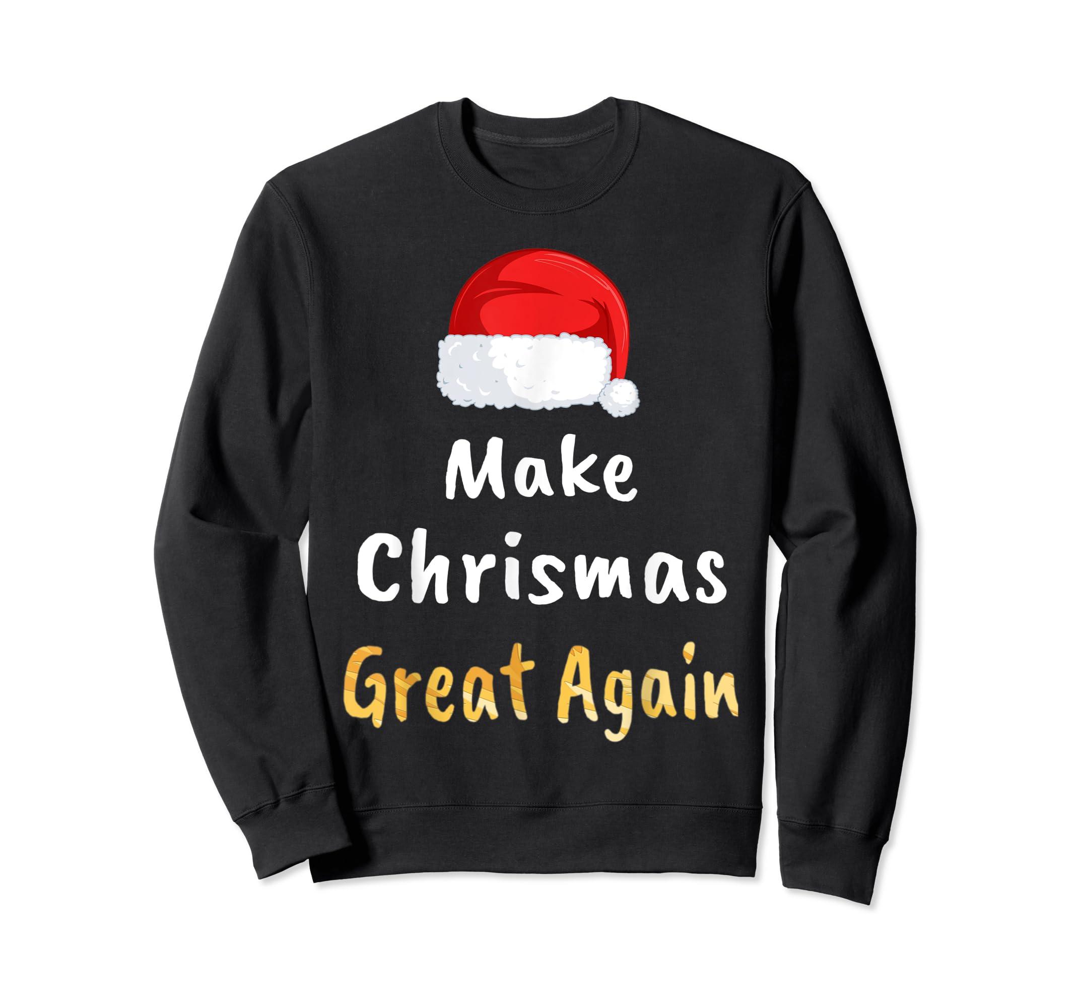 Awesome Make Christmas Great Again Trump Hat Xmas Gift T-Shirt-Sweatshirt-Black