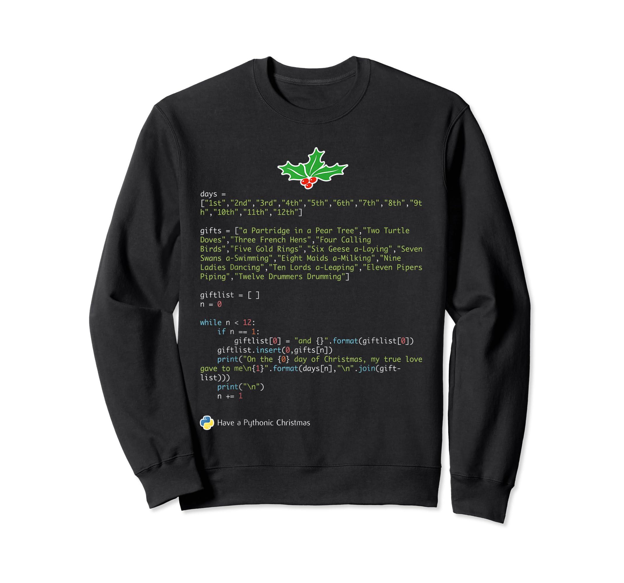 Geek Christmas Xmas - 12 Days of Python T-Shirt-Sweatshirt-Black