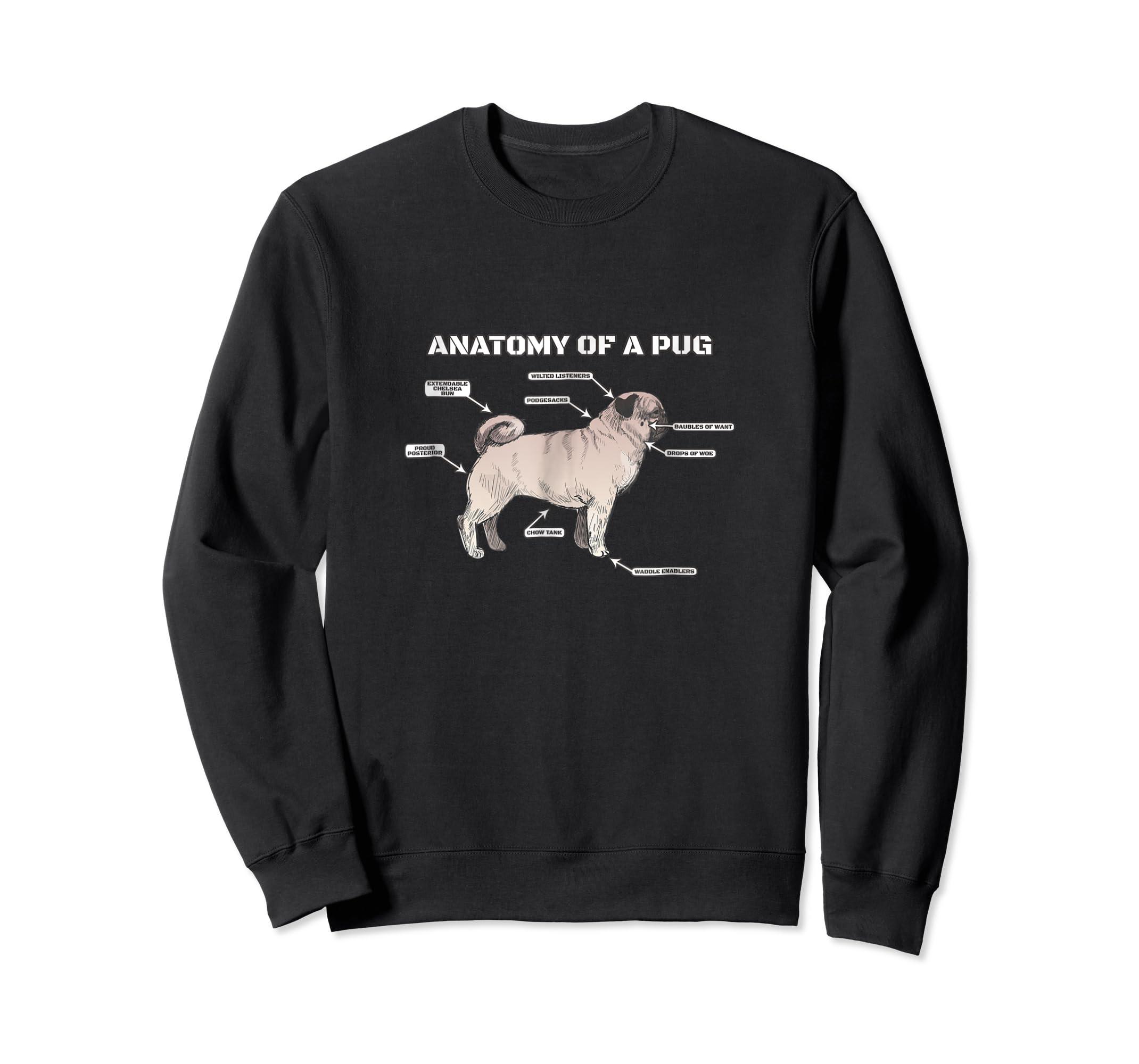 Cute Pug Anatomy T-Shirt - Funny Dog Puppy Tee-Sweatshirt-Black
