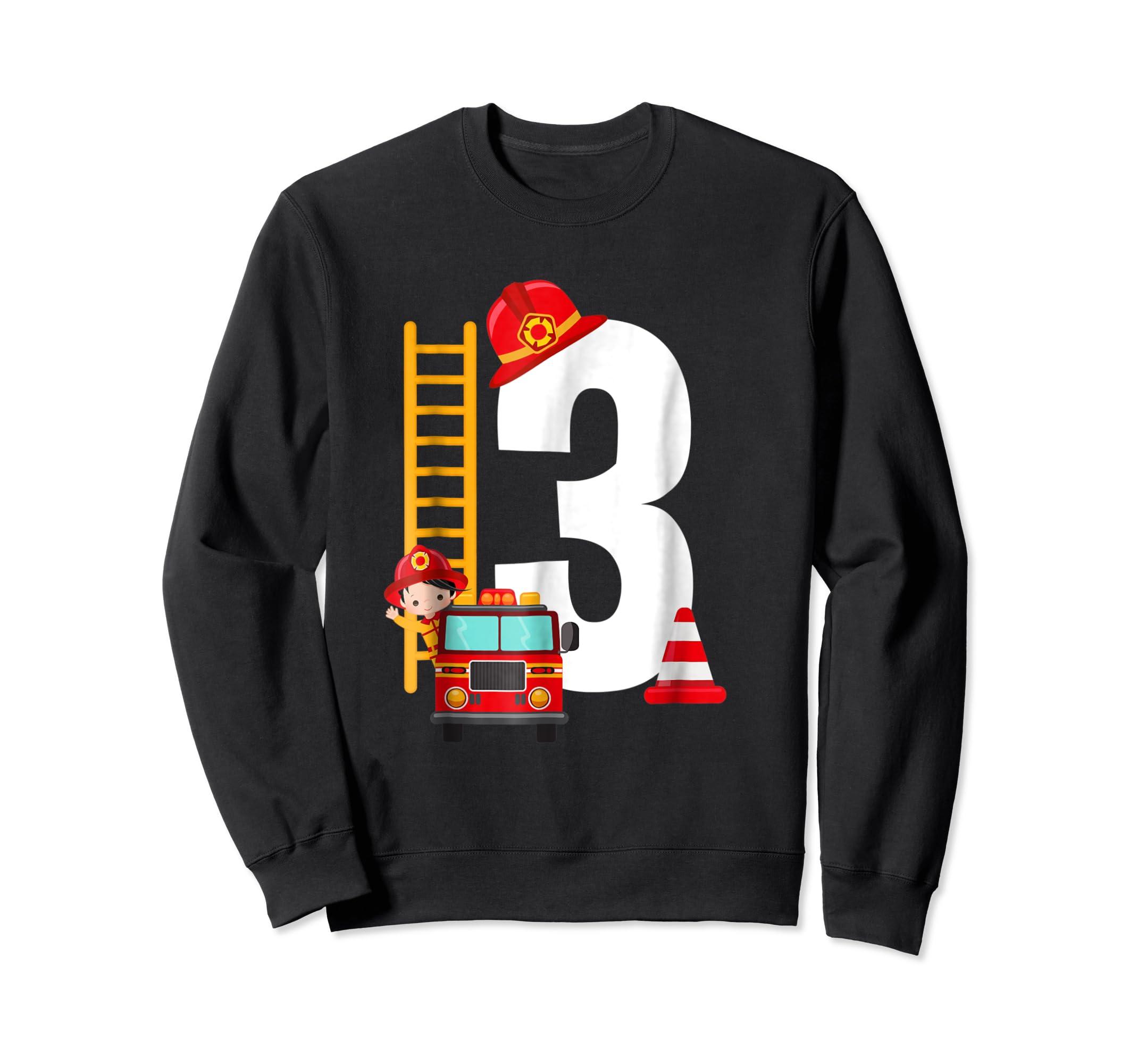 Kids 3rd Birthday Party Fire Truck Toddler T Shirt-Sweatshirt-Black
