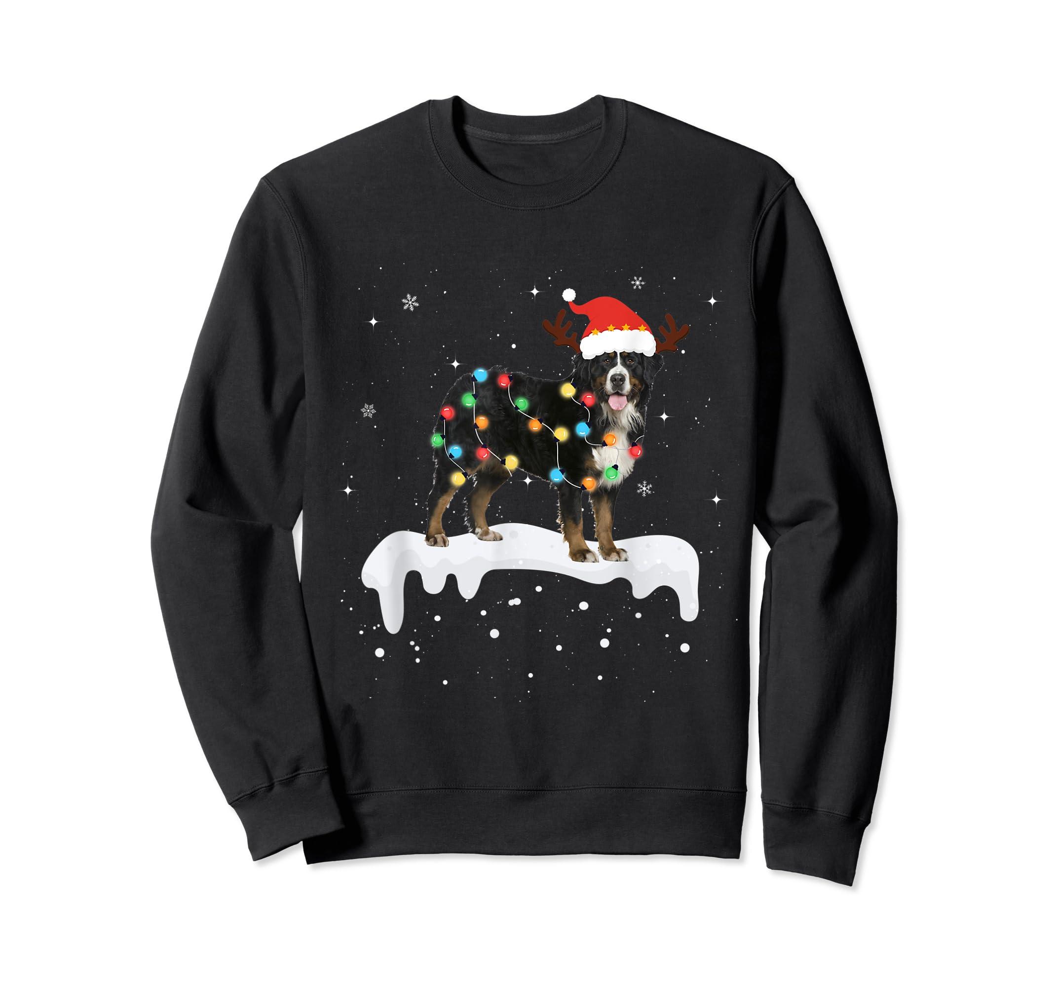 Bernese Mountain Christmas Lights Cute Dog Lover Gift T-Shirt-Sweatshirt-Black