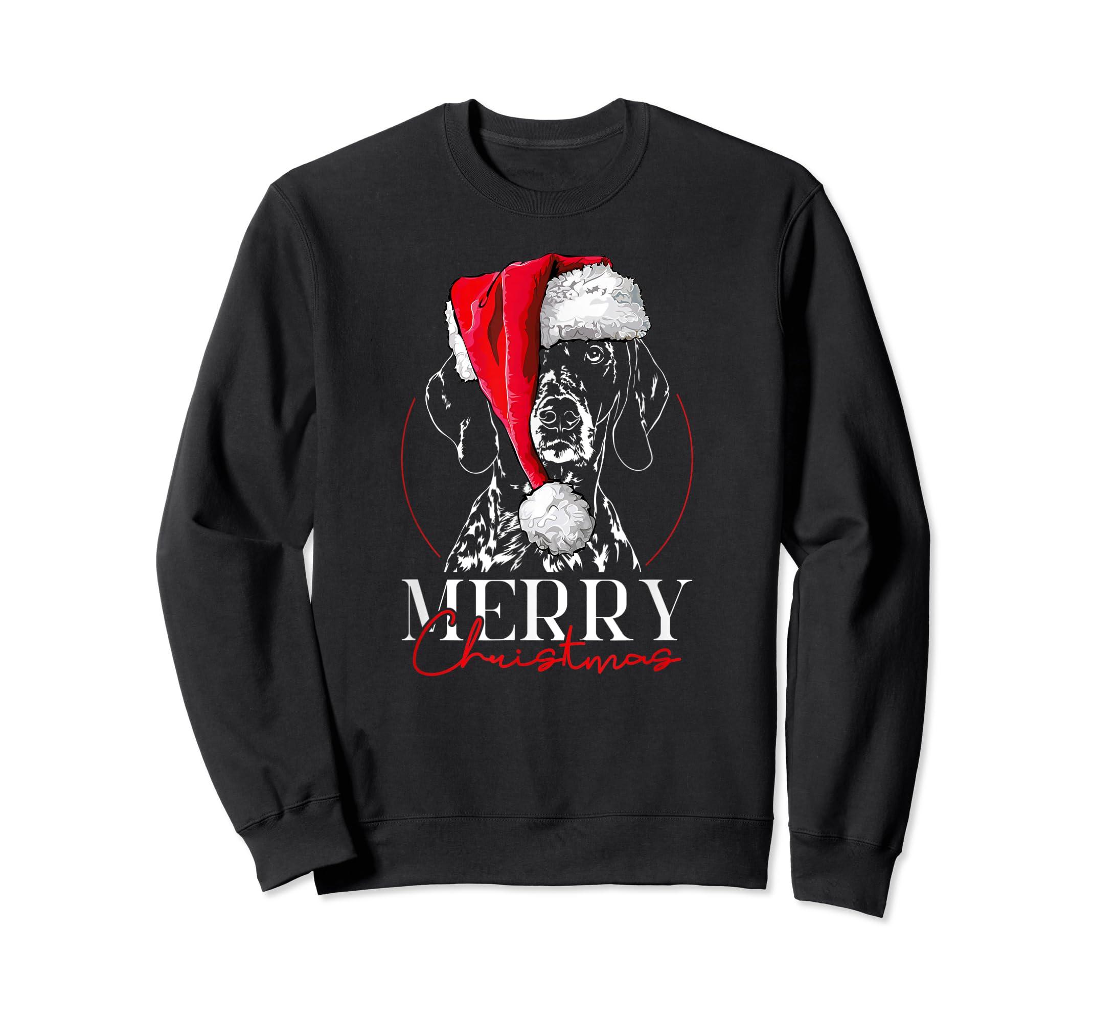 Funny Santa German Shorthaired Pointer Merry Christmas dog T-Shirt-Sweatshirt-Black