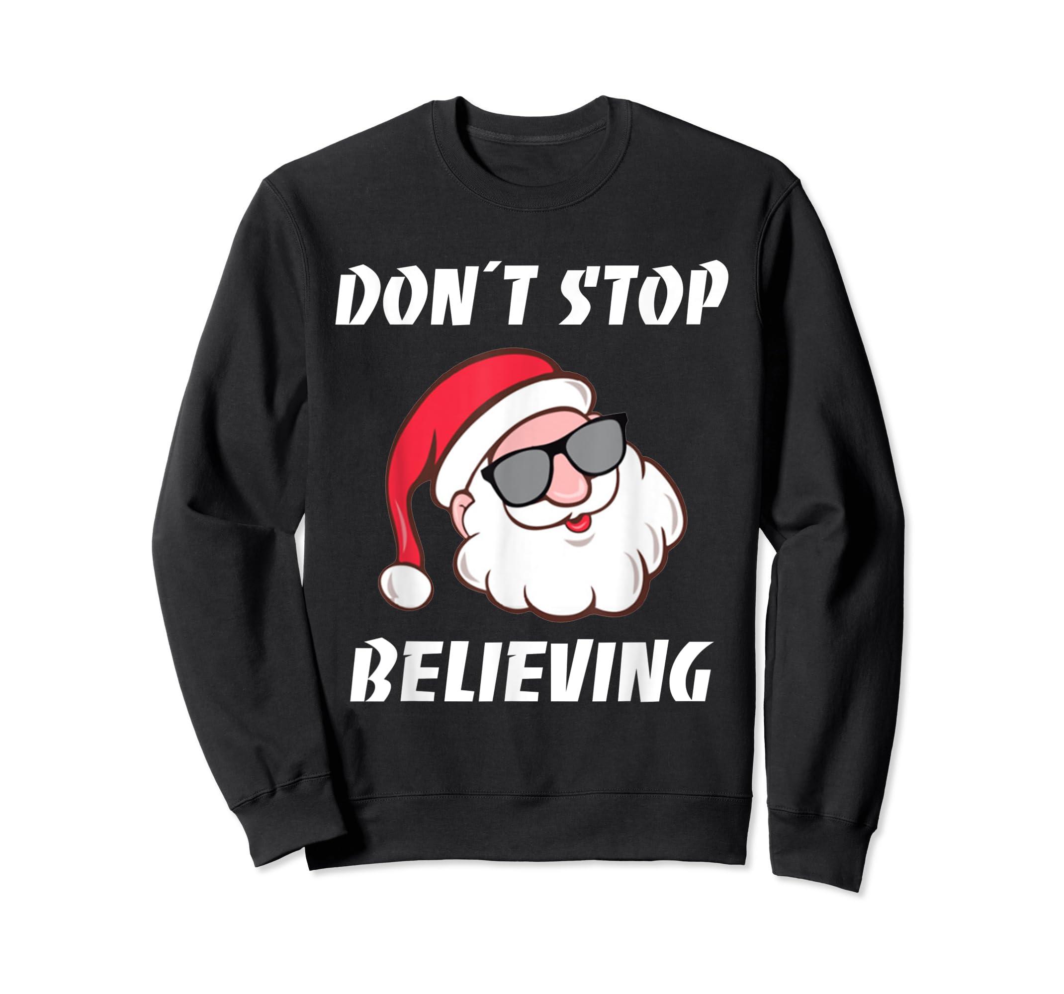 Don't Stop Believing Santa Claus Christmas T-Shirt-Sweatshirt-Black