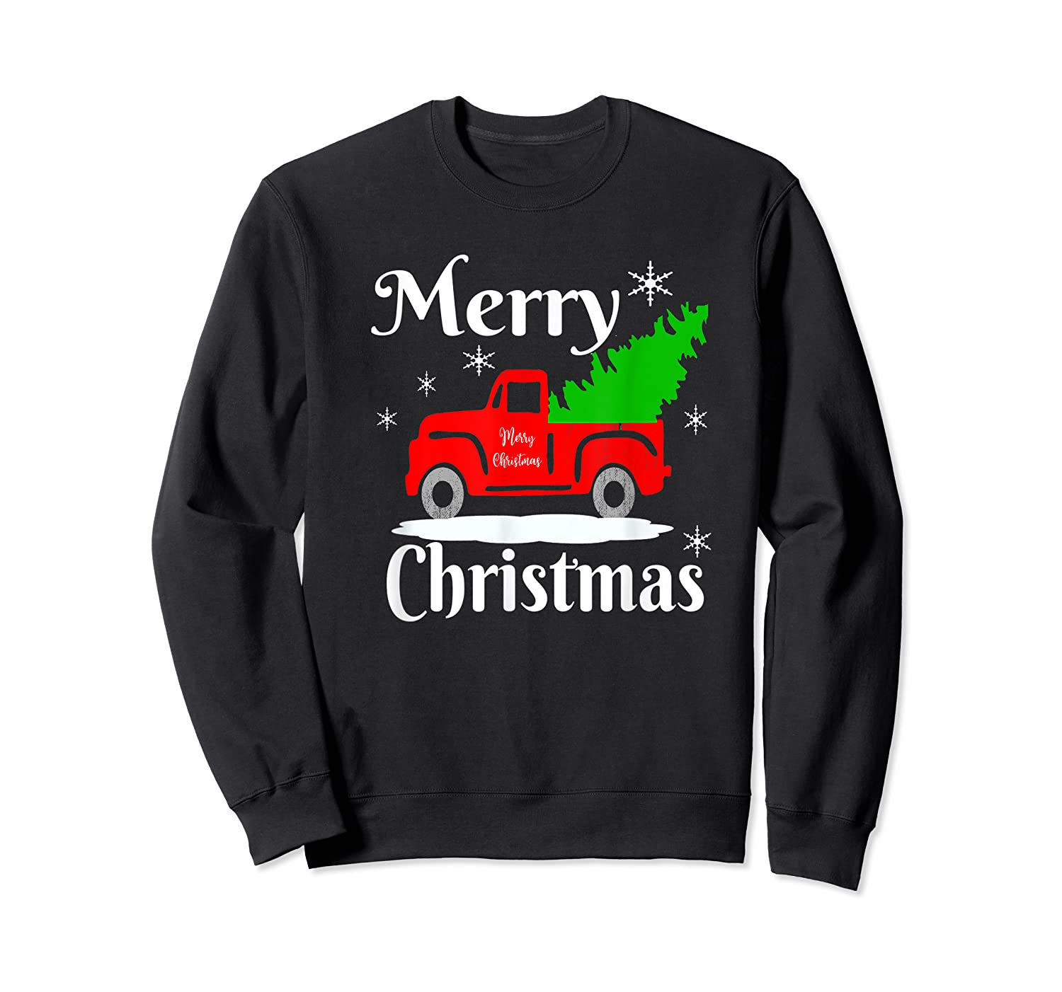 Merry Christmas Old Vintage Red Truck With Christmas Tree Shirts Crewneck Sweater
