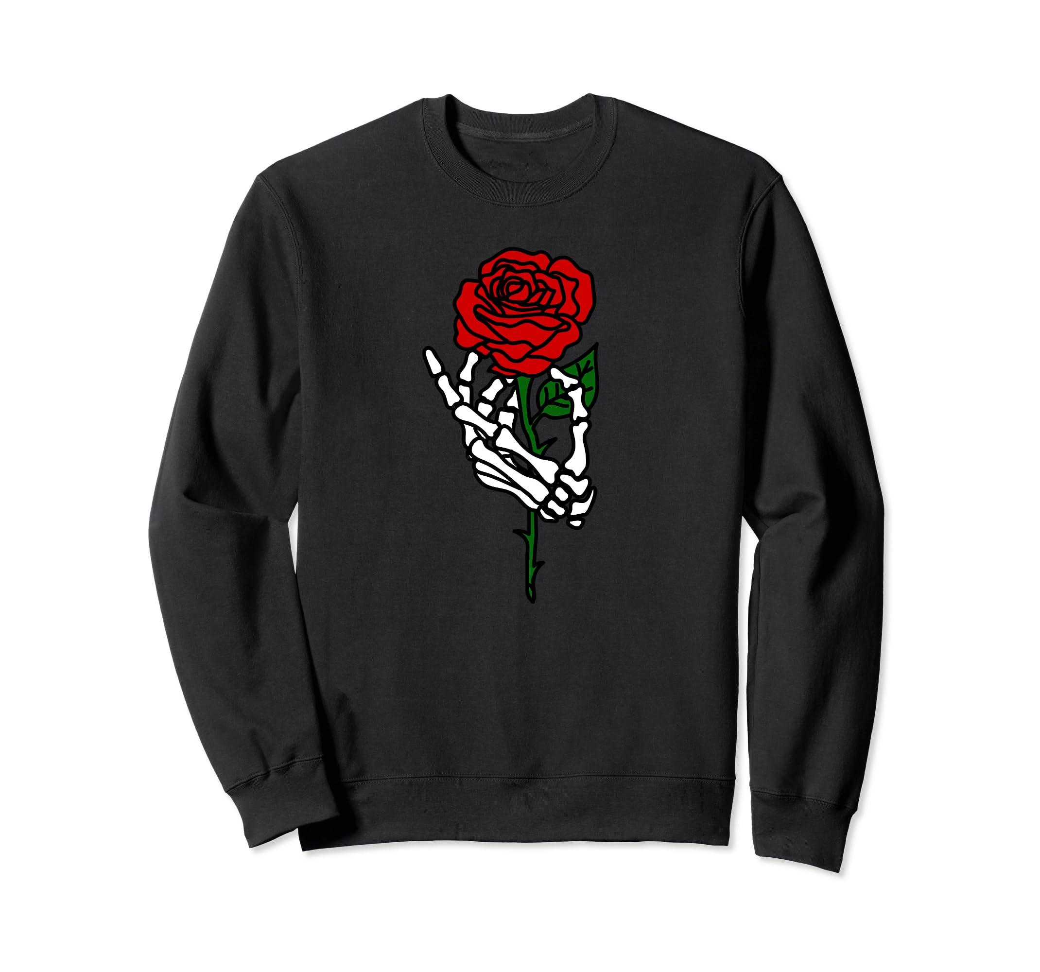 Skeleton Hand Holding Rose Sweatshirt, Tattoo Sweatshirts