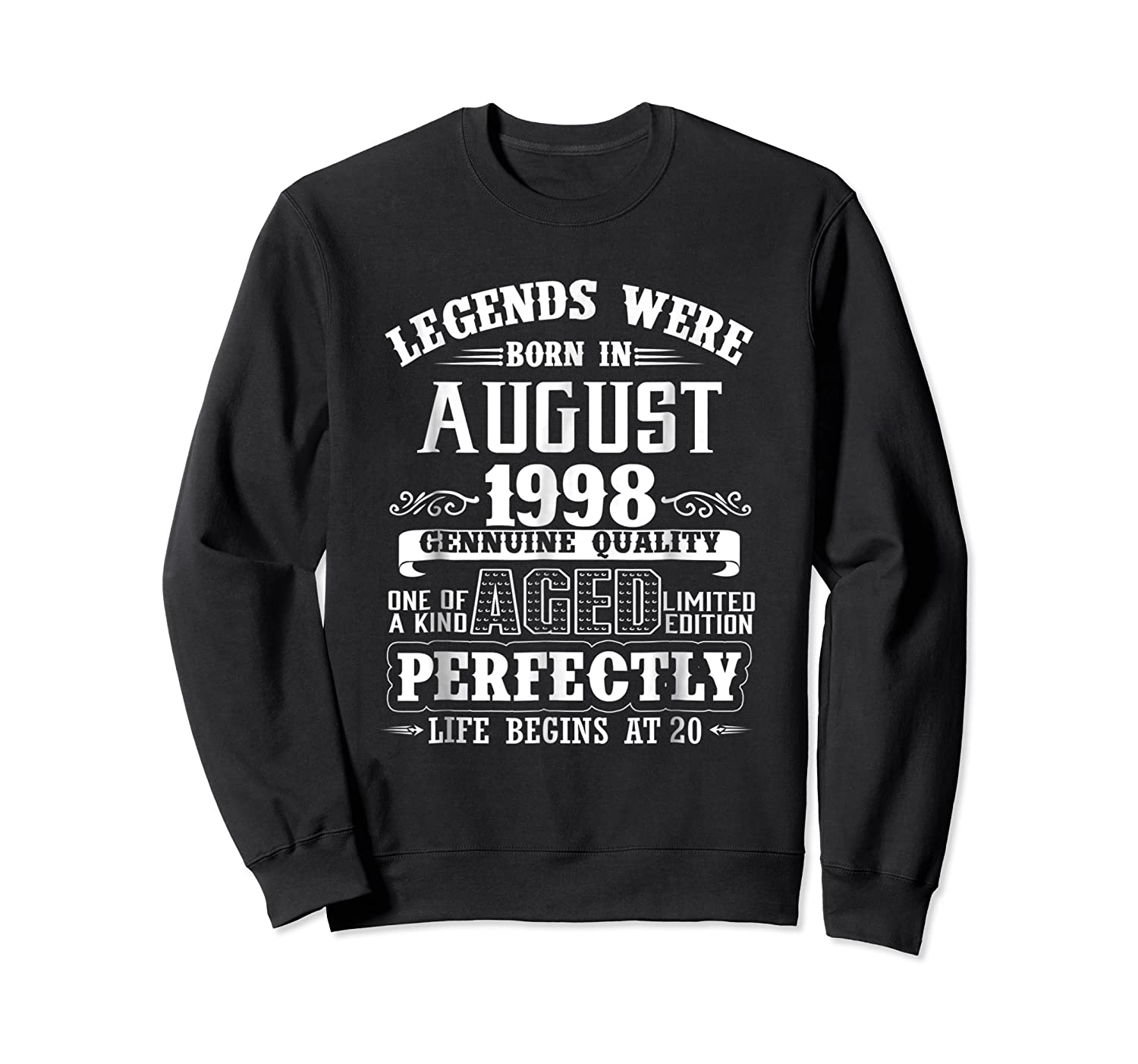 August 1998 20th Birthday Gift Shirt 20 Years Old  Crewneck Sweater