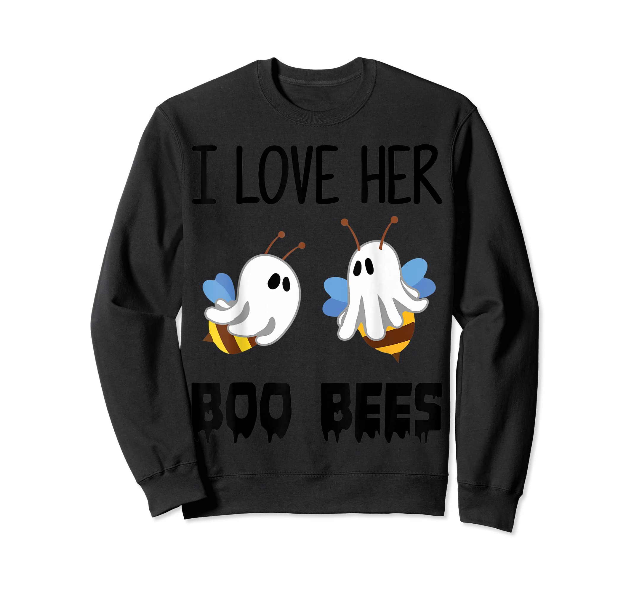I Love Her Boo Bees Couples Funny Halloween Costume Gift T-Shirt-Sweatshirt-Black