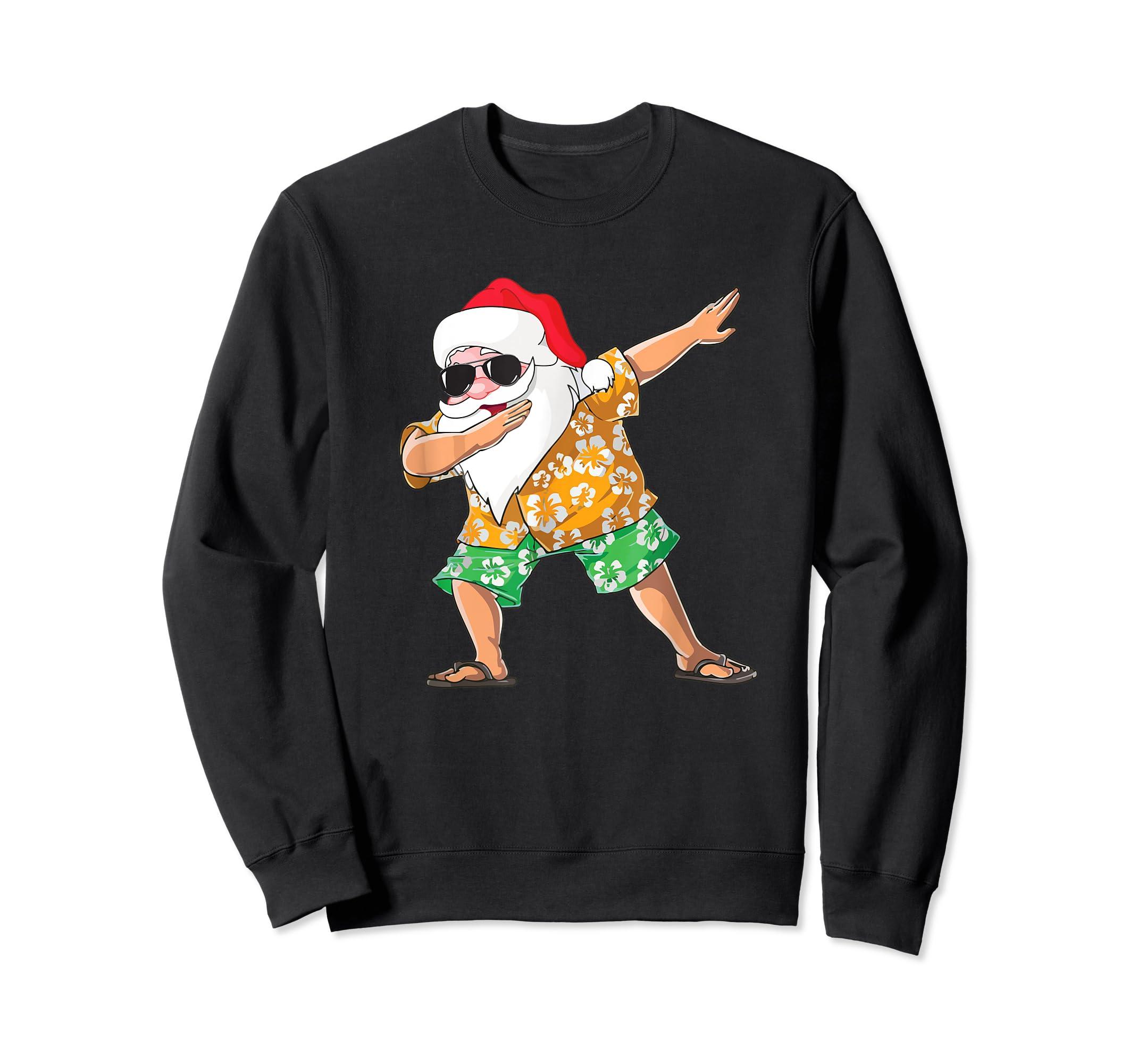 Dabbing Santa Tee Christmas In July Kids Hawaiian Xmas T-Shirt-Sweatshirt-Black