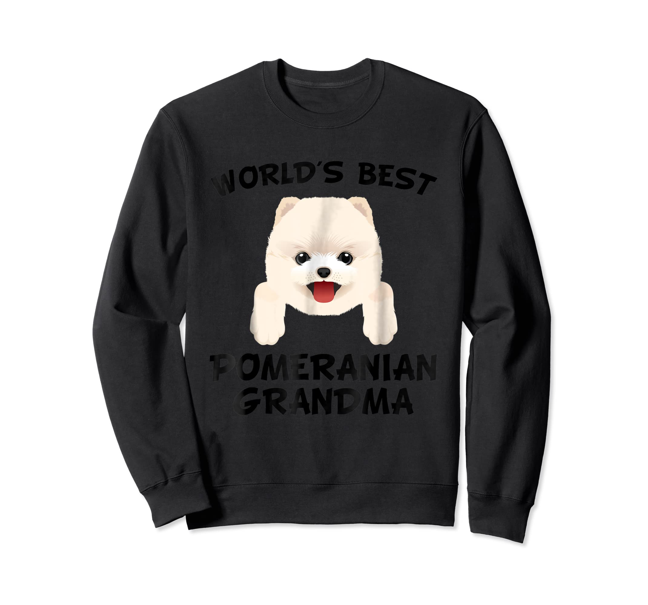 World's Best Pomeranian Grandma Dog Granddog T-Shirt-Sweatshirt-Black