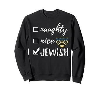 Jewish Christmas Sweater.Naughty Nice Jewish Funny Sweater Ugly Christmas Hanukkah