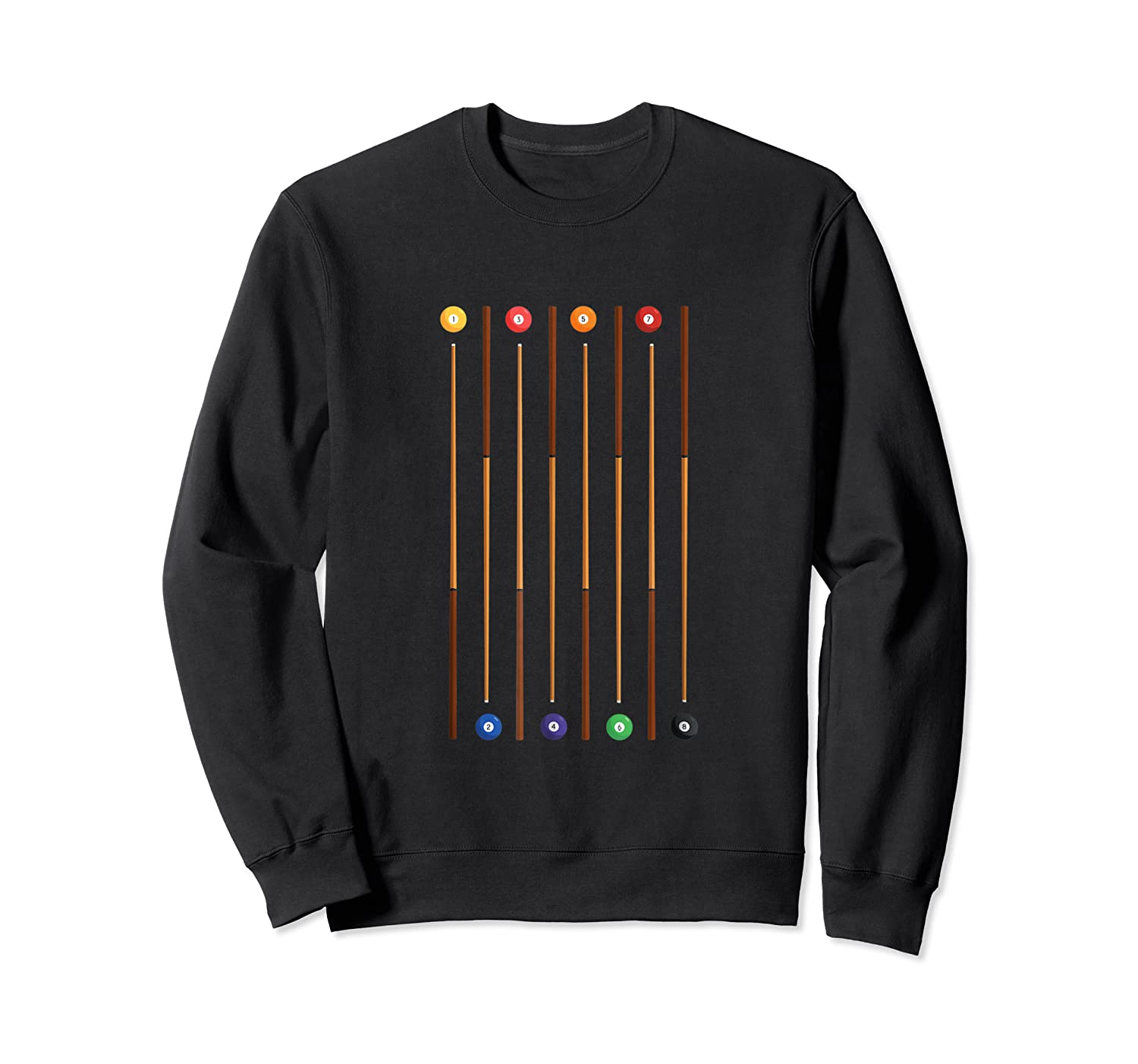Biliard Cue Stick And 8 Pool Balls Awesome Game Shirts Crewneck Sweater
