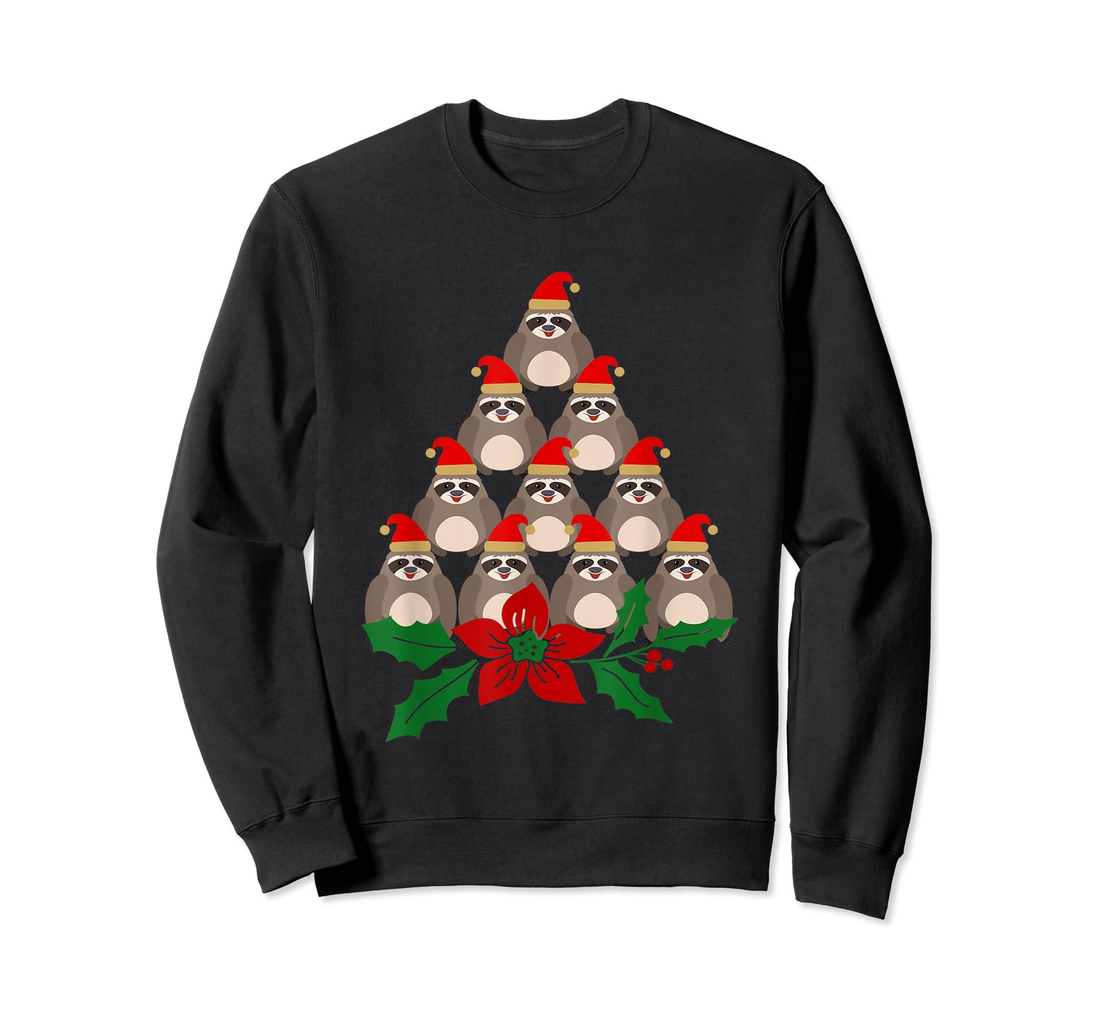 Sloth Christmas Tree Xmas Lover T-Shirt-Sweatshirt-Black