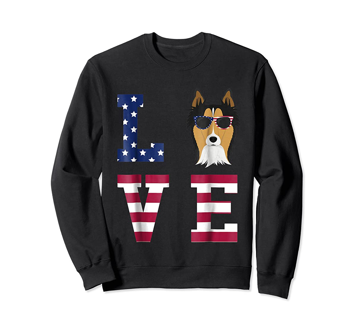 Collie Dog - 4th Of July T-Shirt-Sweatshirt-Black