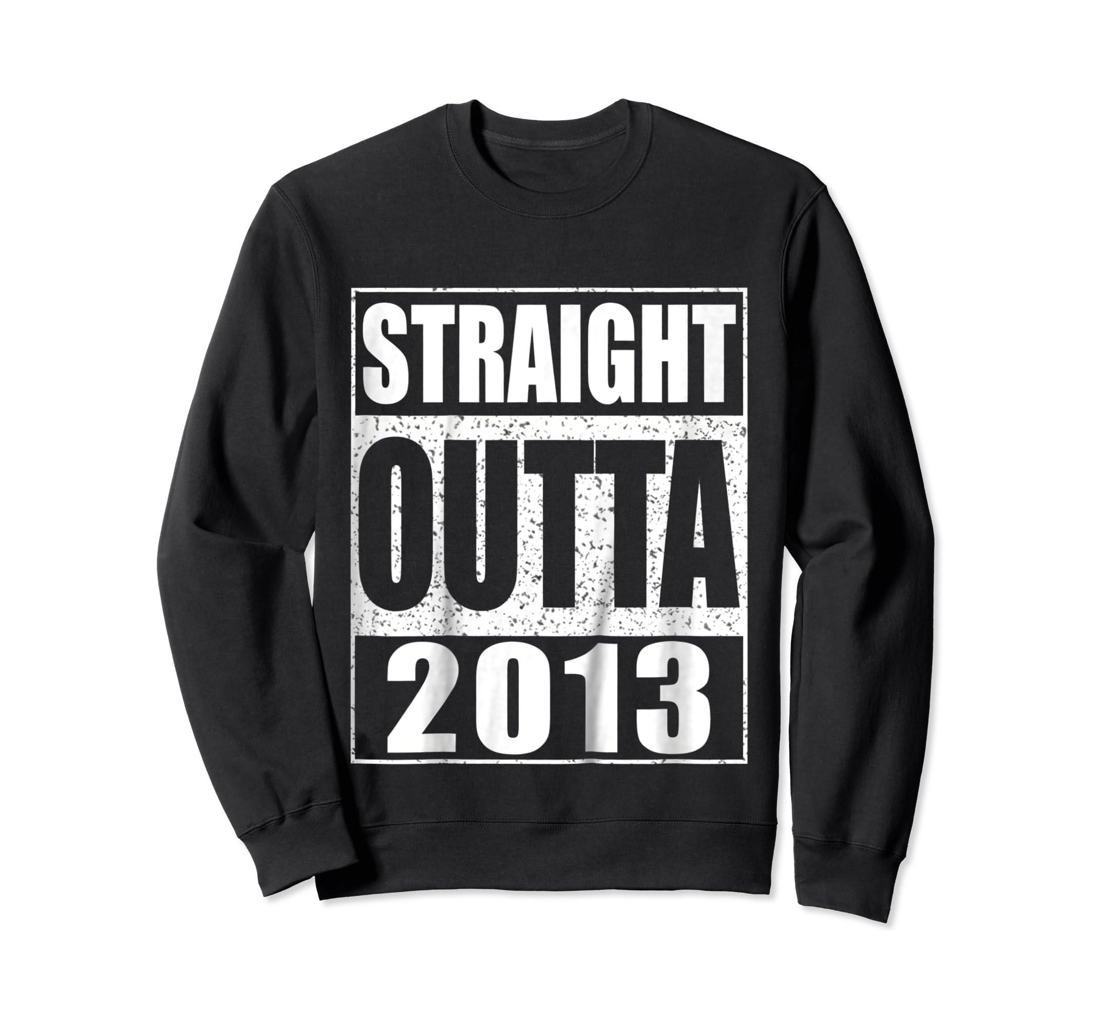 Kids Straight Outta 2013 T-Shirt 6th Birthday Gift Shirt-Sweatshirt-Black