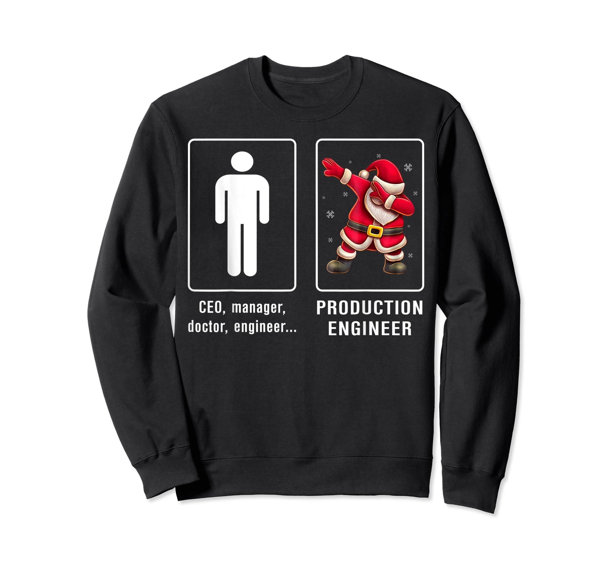 PRODUCTION ENGINEER Santa Dab T-shirt Funny Christmas T-Shirt-Sweatshirt-Black