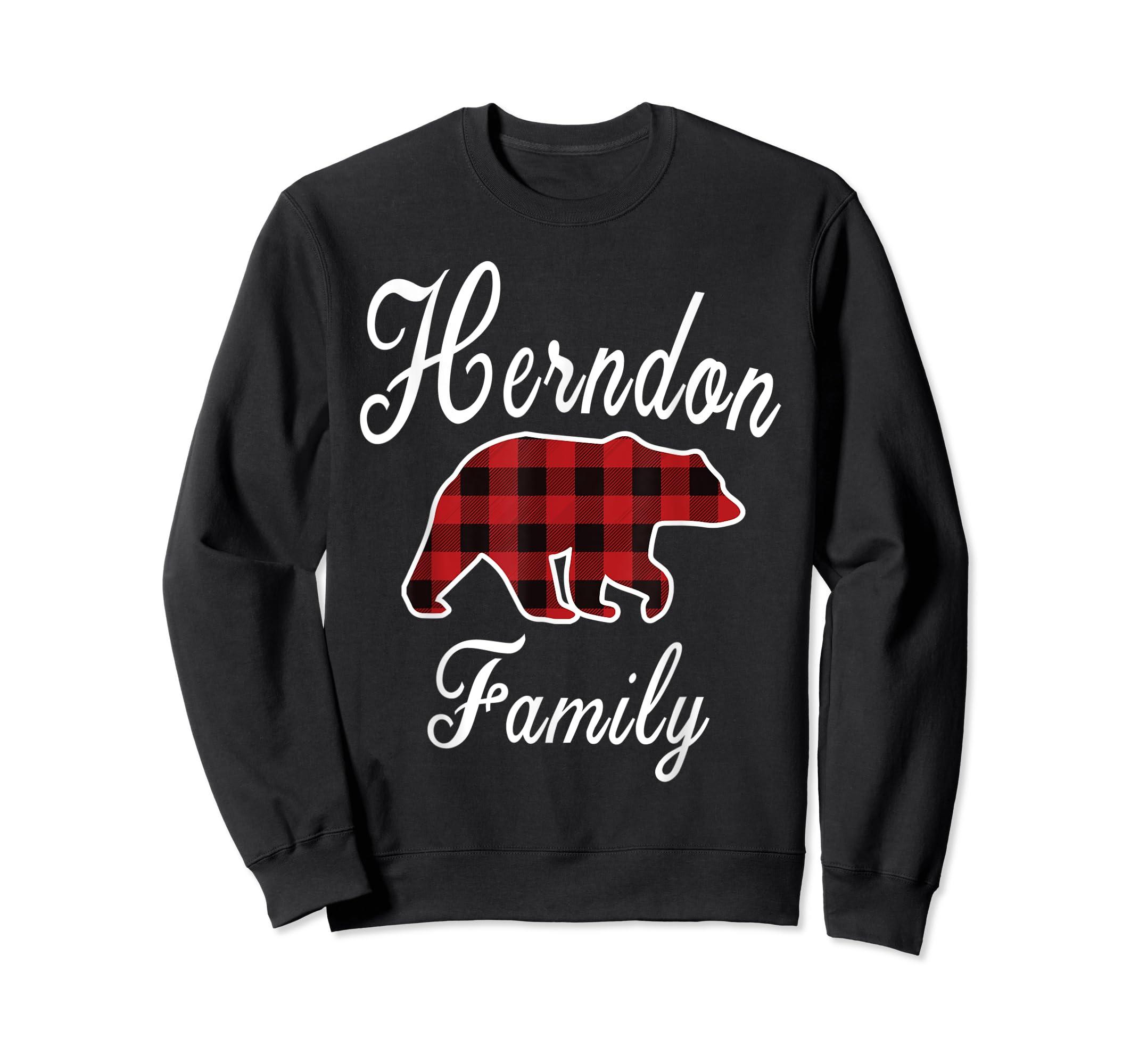 HERNDON Family Bear Red Plaid Christmas Pajama Gift T-Shirt-Sweatshirt-Black