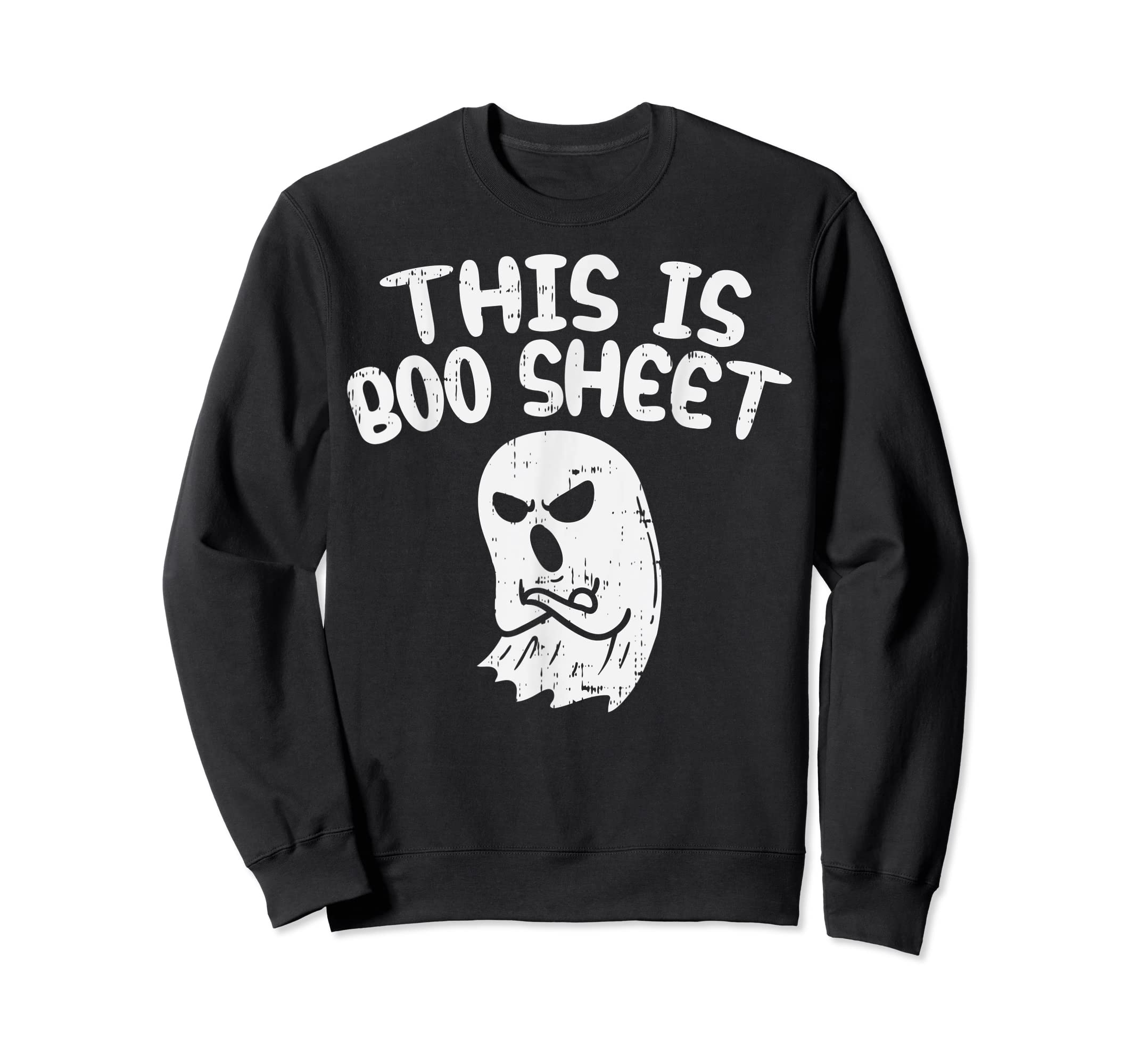 This Is Boo Sheet Ghost Pun Funny Halloween Costume Gift T-Shirt-Sweatshirt-Black