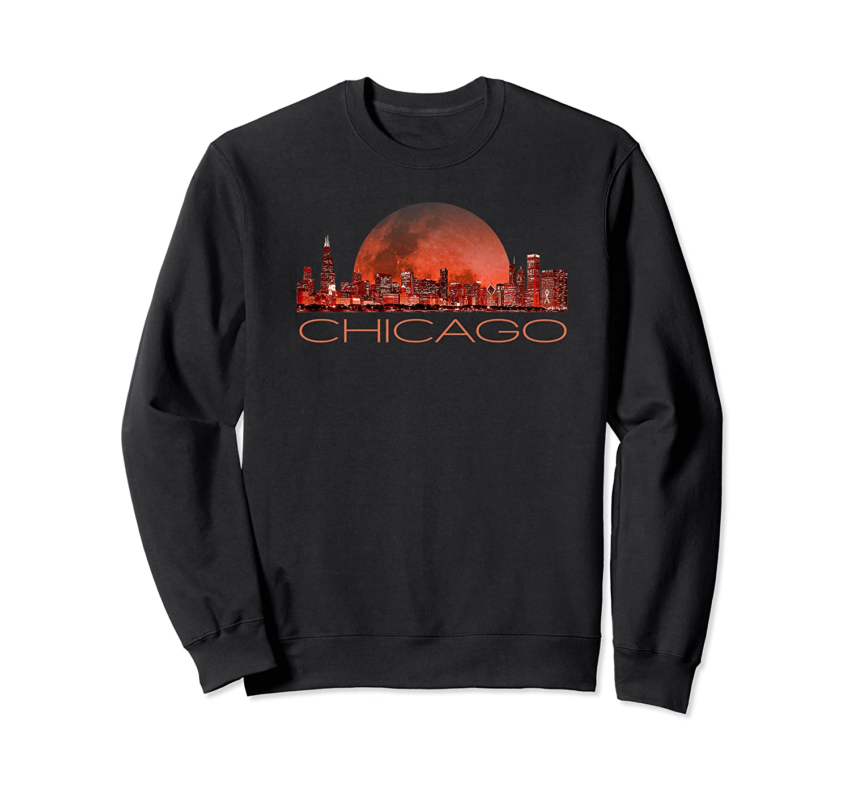 Chicago Skyline At Night T Shirt Chicago T Shirt Crewneck Sweater