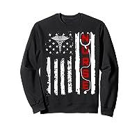Patriotic American Usa Flag Correctional & Rn Nurse Tshirt Sweatshirt Black