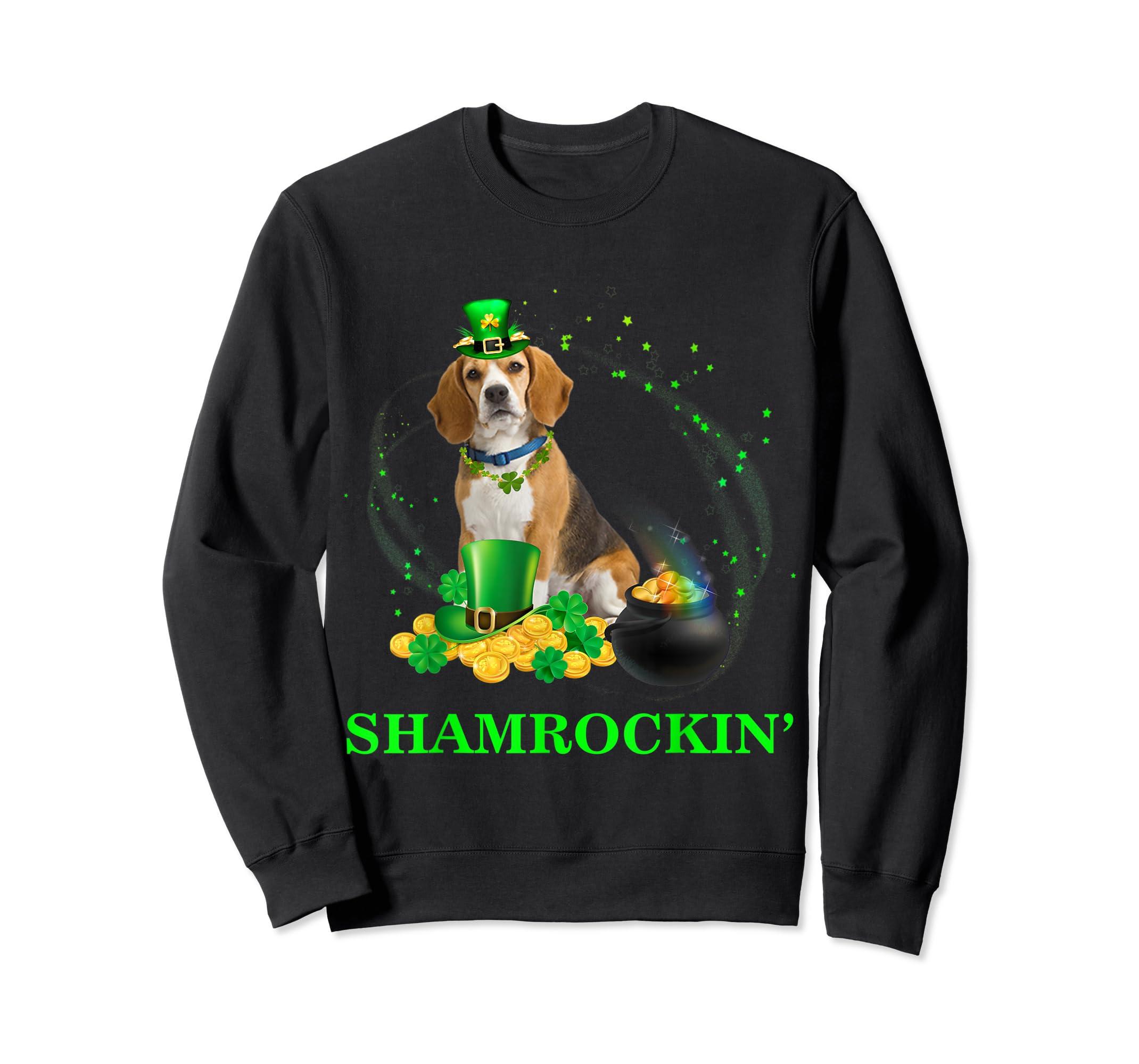 Shamrockin' Beagle St Patricks Day Tshirt Dog Gifts-Sweatshirt-Black
