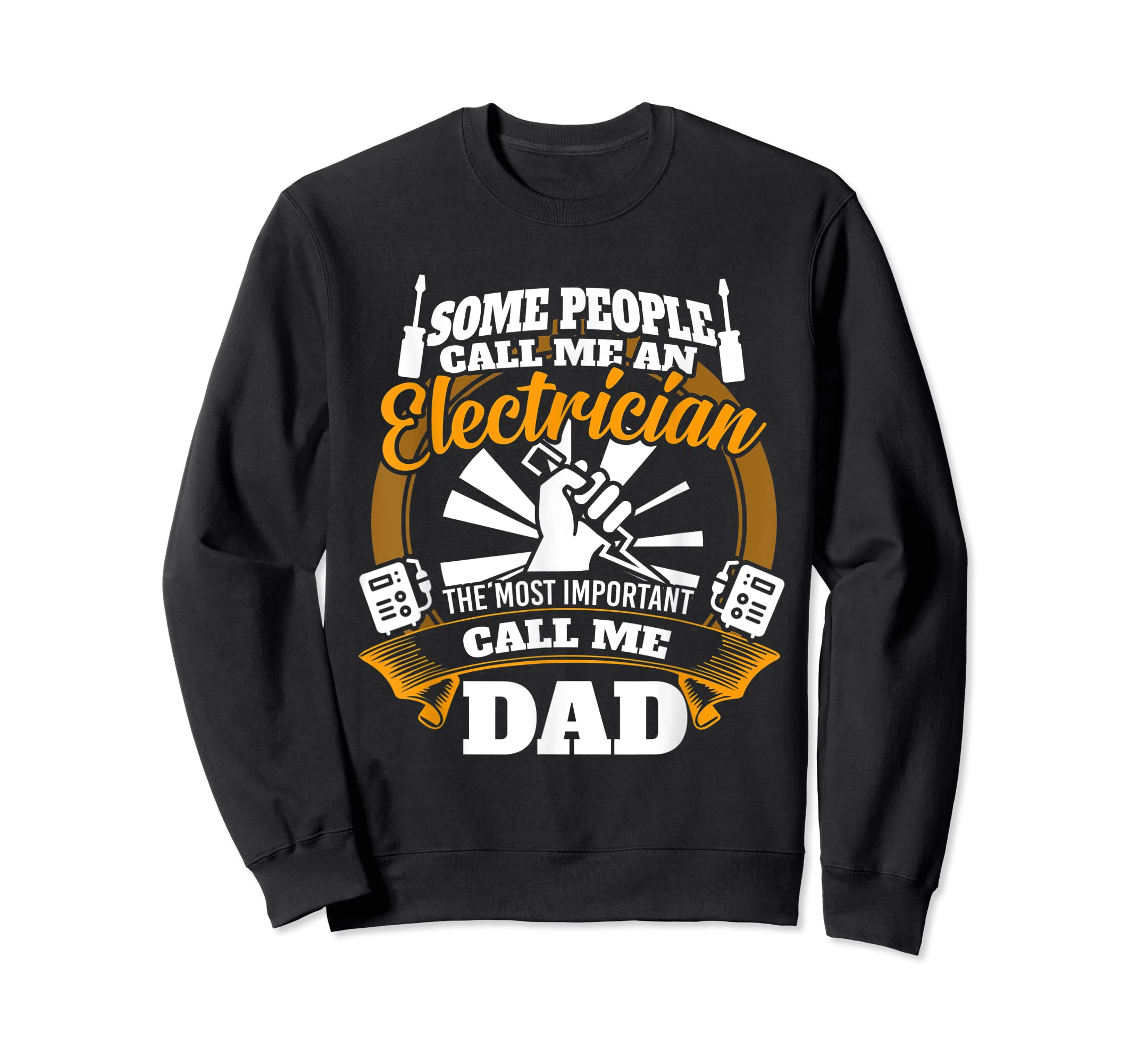 Mens Funny Electrician T-shirt for dad who loves technician gifts-Sweatshirt-Black