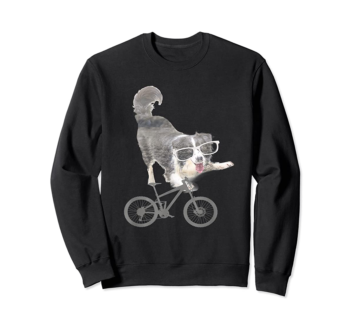 Border collie on a Bicycle T-shirt-Sweatshirt-Black