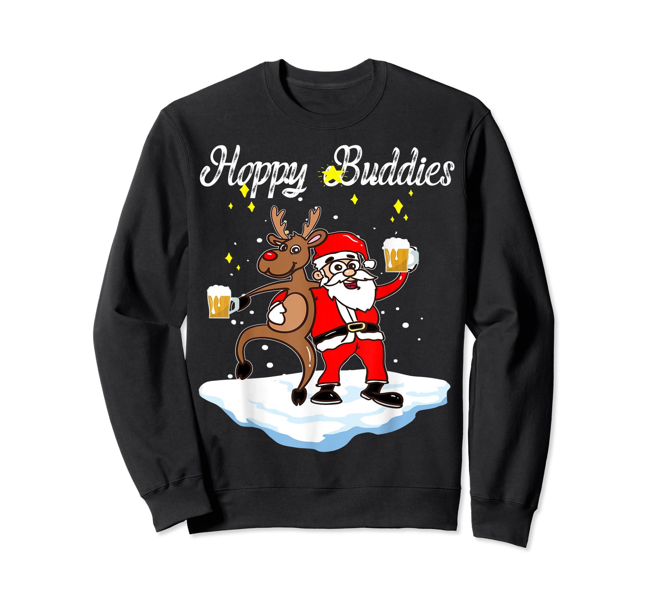 Santa Dancing Reindeer Beer Drinking T-Shirt Christmas Party T-Shirt-Sweatshirt-Black
