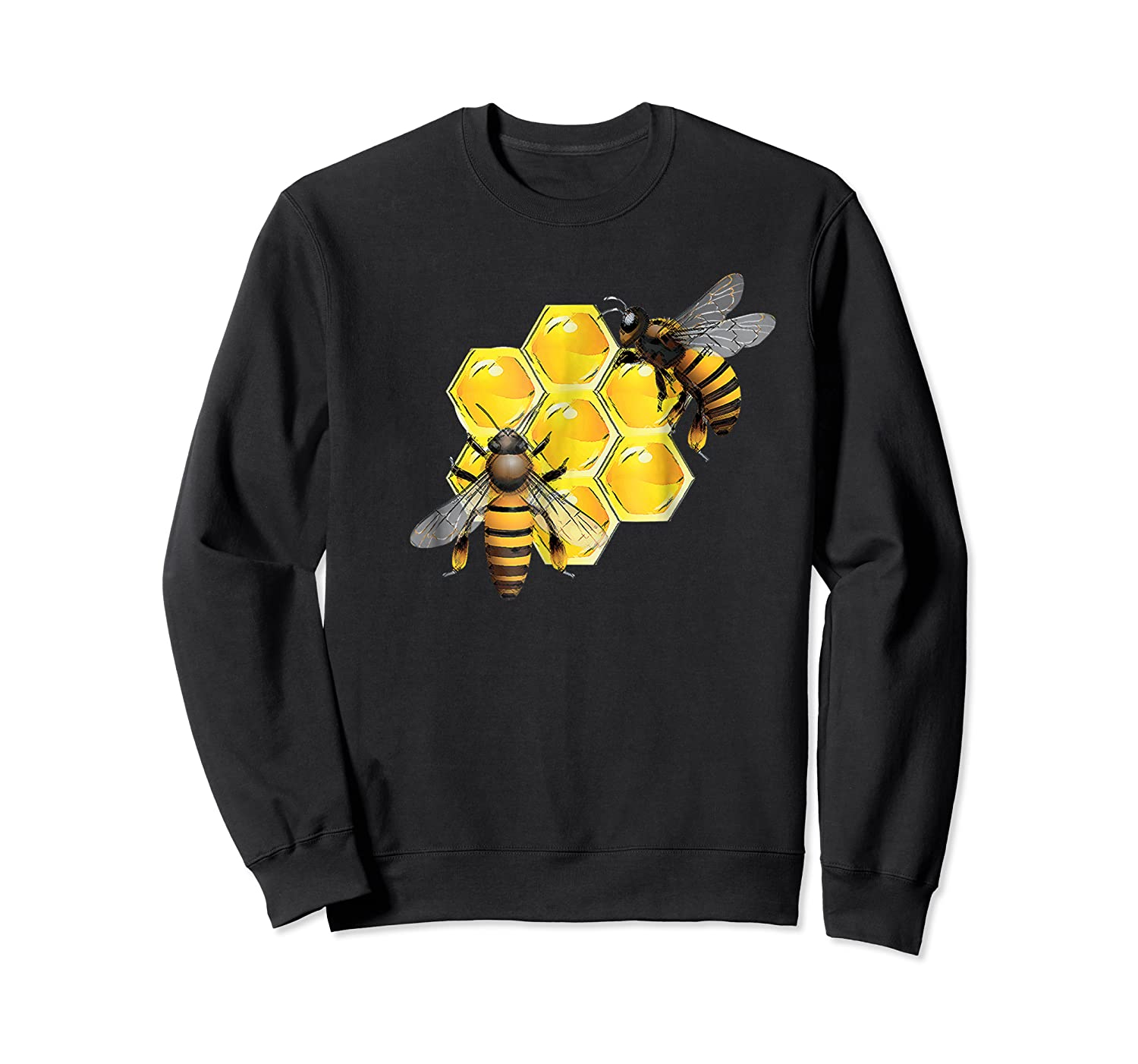 Honeycomb Pattern With Two Bees Drawing Shirts Crewneck Sweater