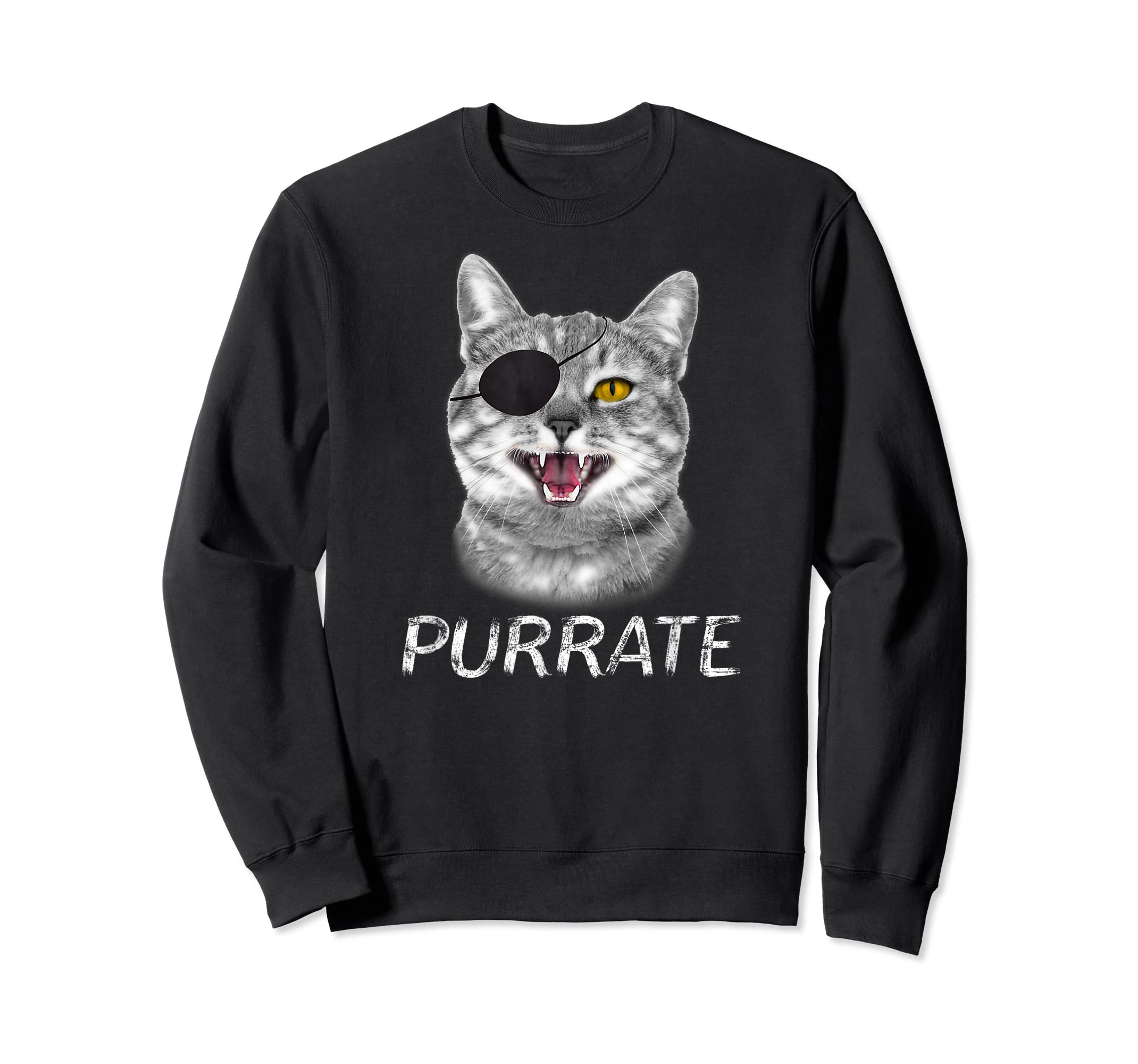 Halloween Trick Treat Cat Pirate Purrate T-Shirt-Sweatshirt-Black
