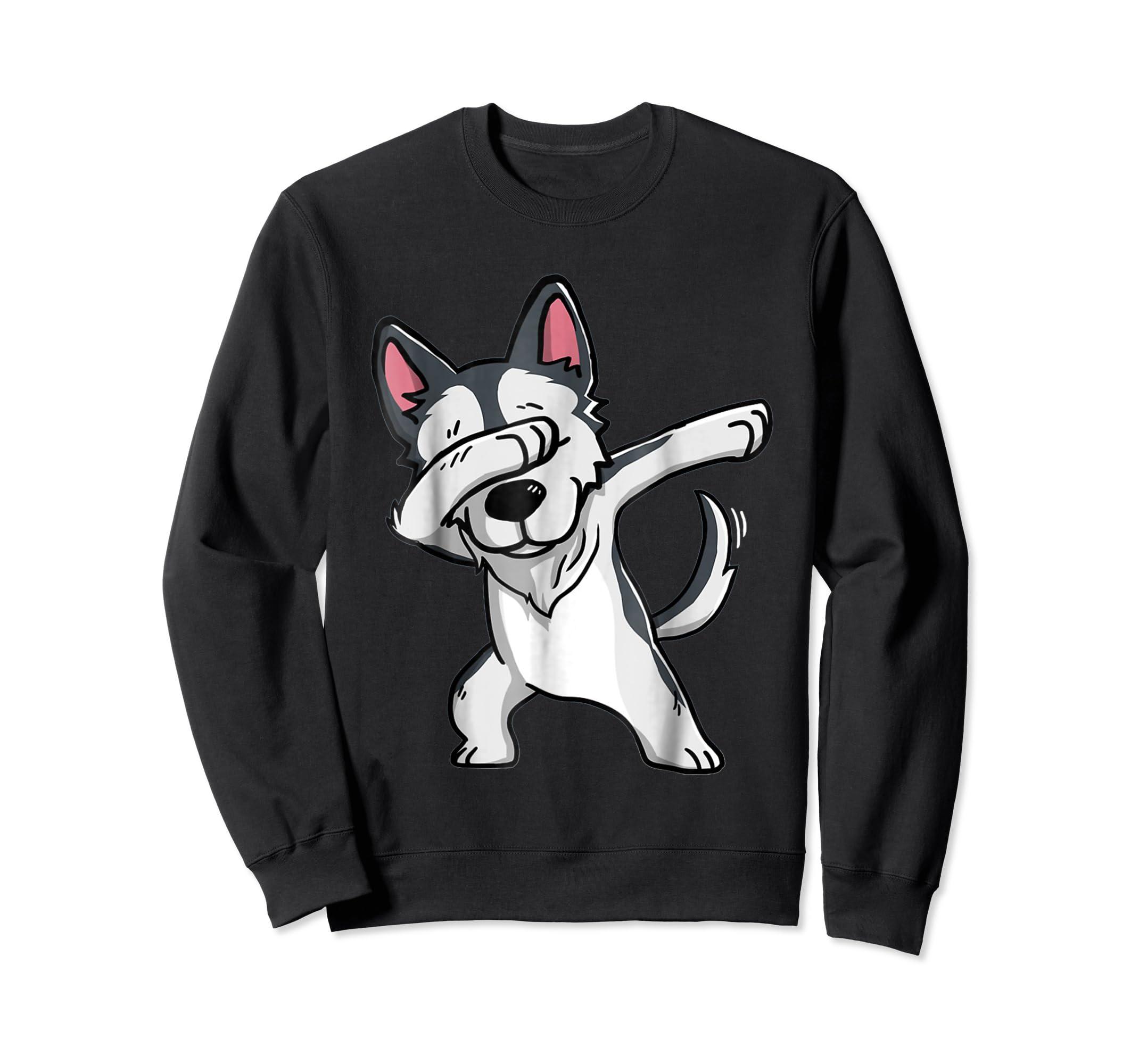 Dabbing Siberian Husky T-Shirt Husky Kids Costume-Sweatshirt-Black