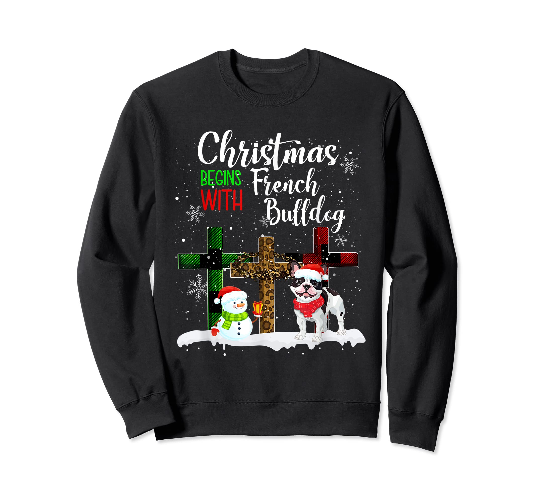 Christmas Begins With French Bulldog Costume Xmas Gifts T-Shirt-Sweatshirt-Black